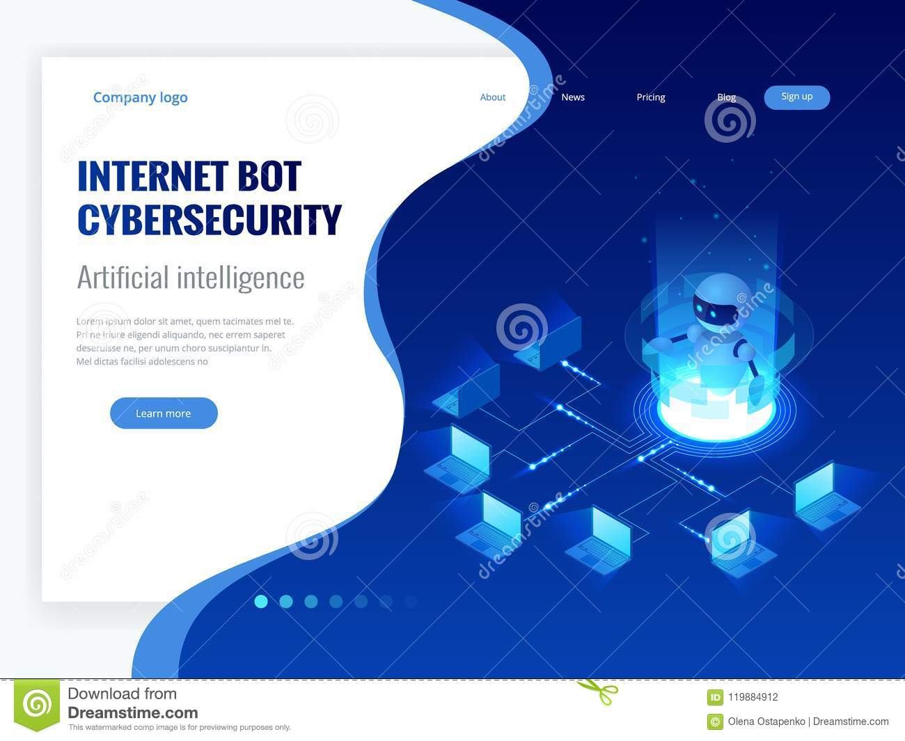 Isometric Internet bot and cybersecurity, artificial intelligence concept. ChatBot free robot virtual assistance of