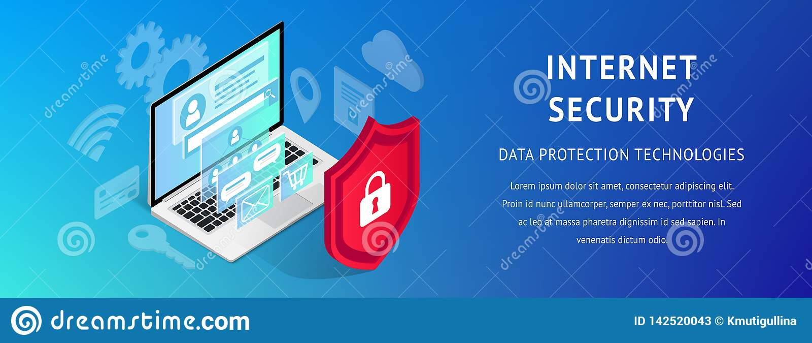 Isometric Internet Security Banner Horizontal Narrow Stock Vector