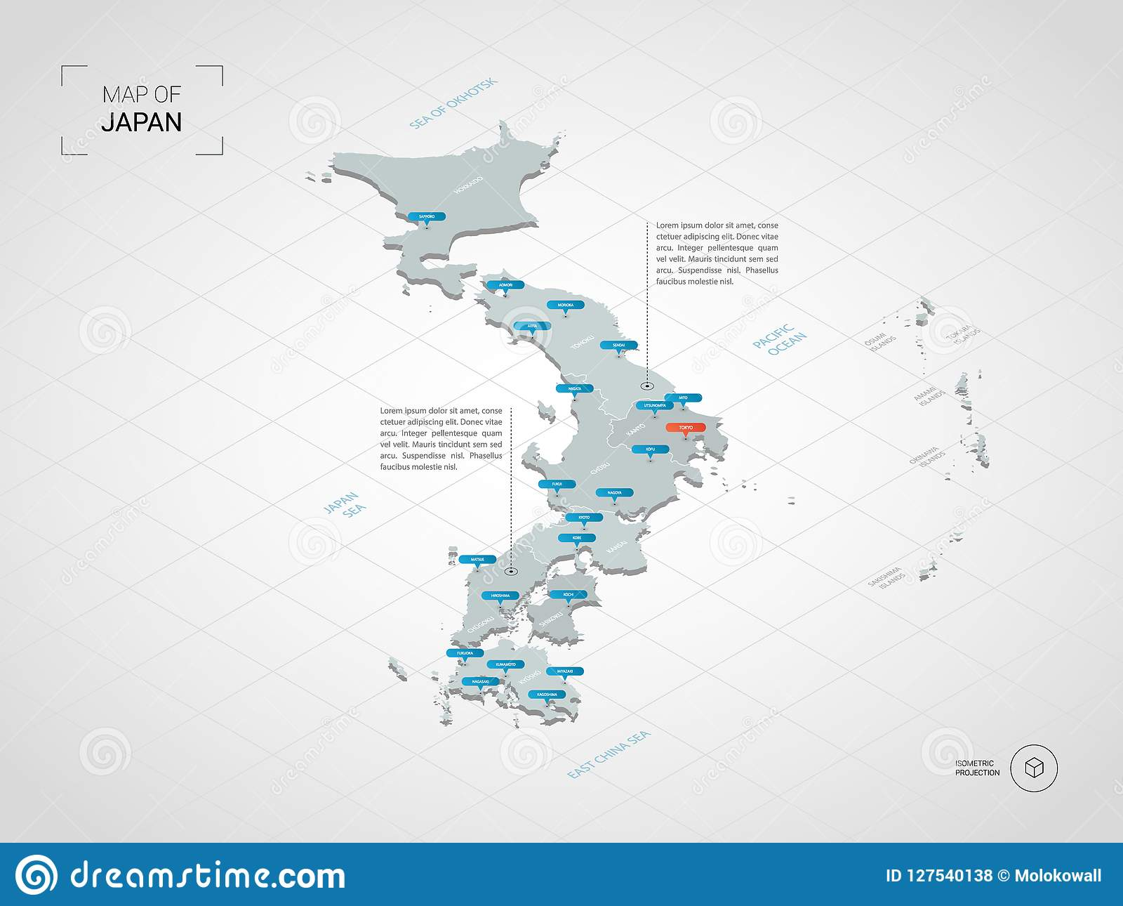 Isometric Japan Map With City Names And Administrative Divisions