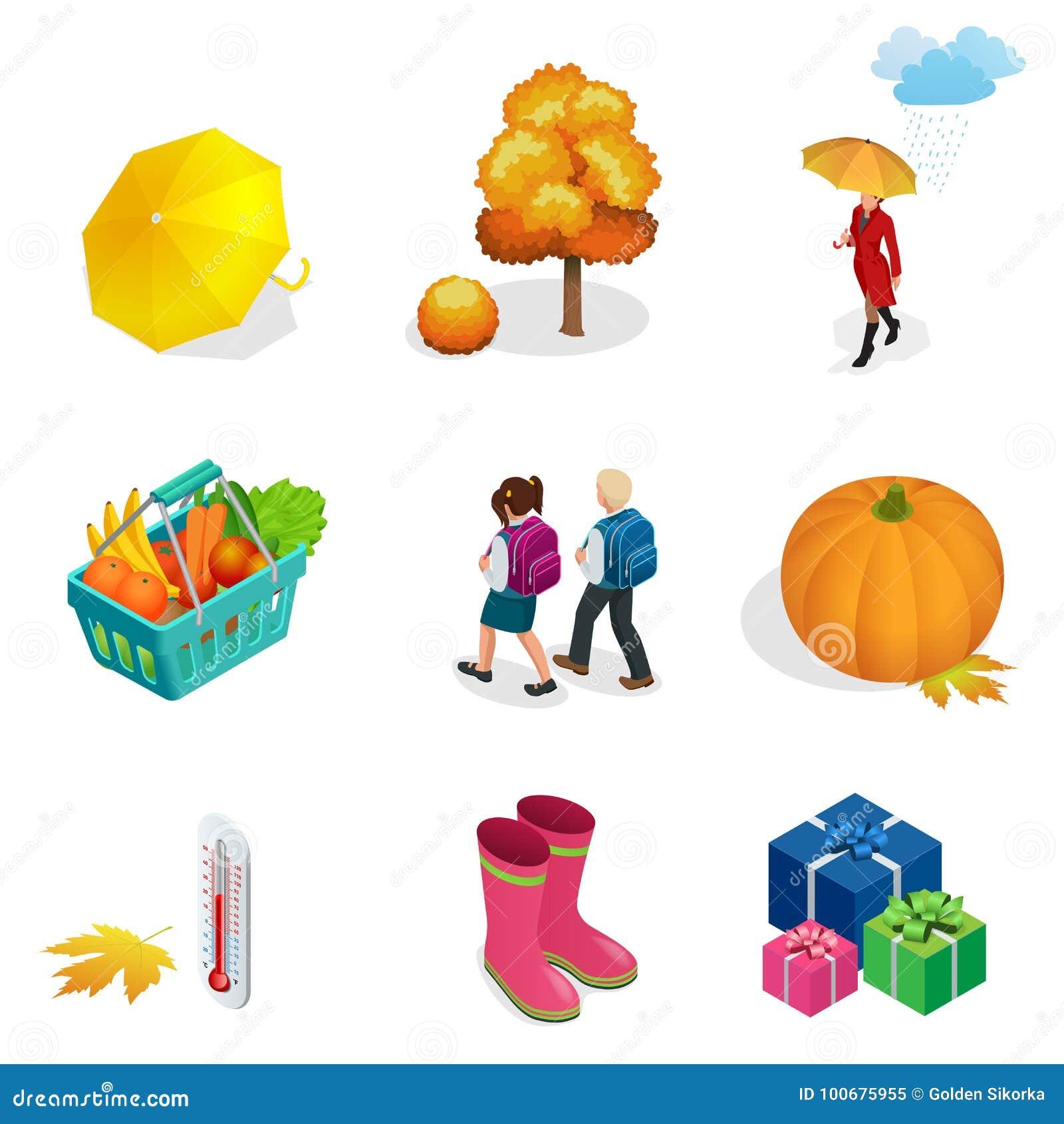 Isometric jesień przedmioty i ikona ustawiamy dla projekt bani, termometr, kobieta z parasolem w deszczu, dzieci z