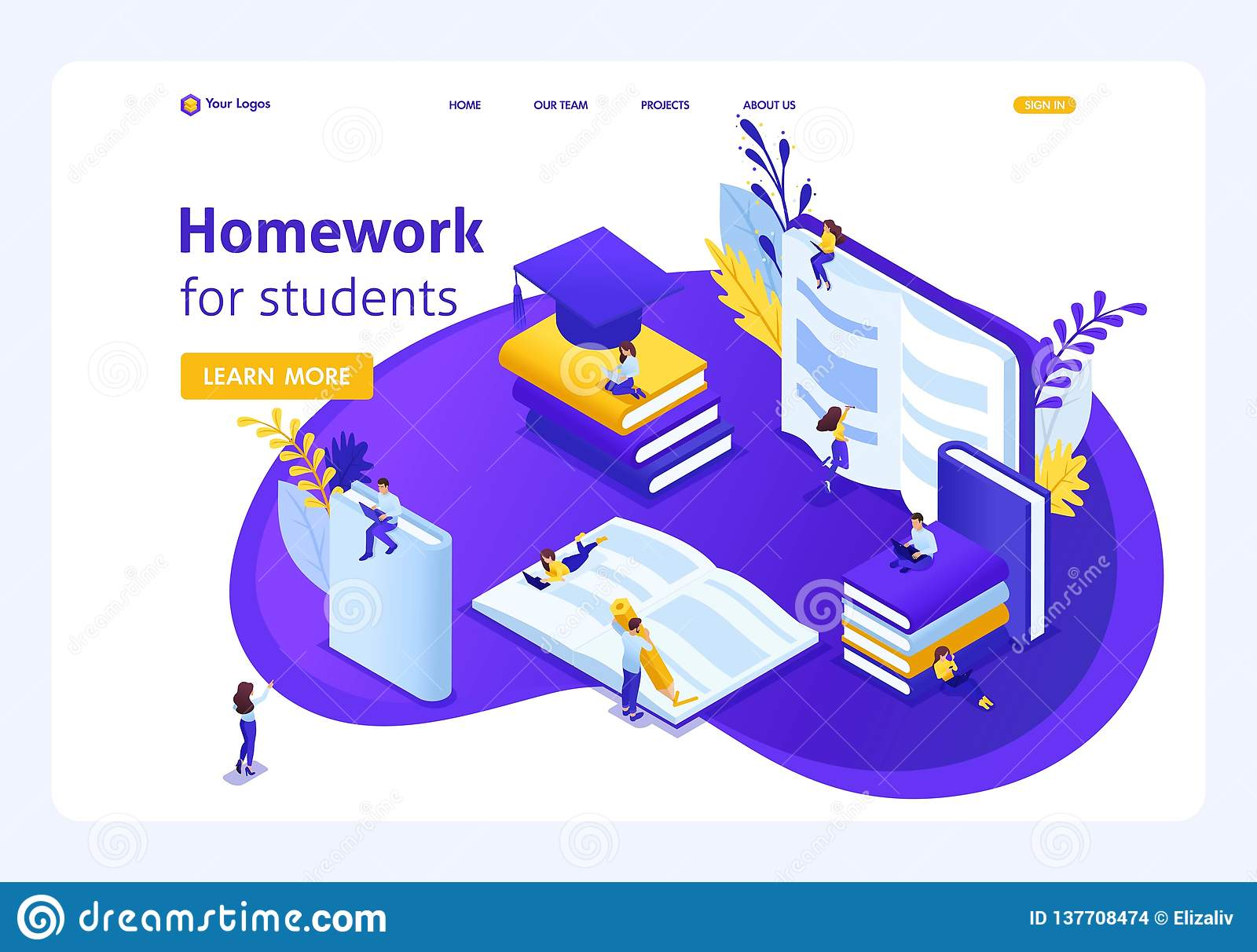Isometric Landing Page For Education Stock Vector