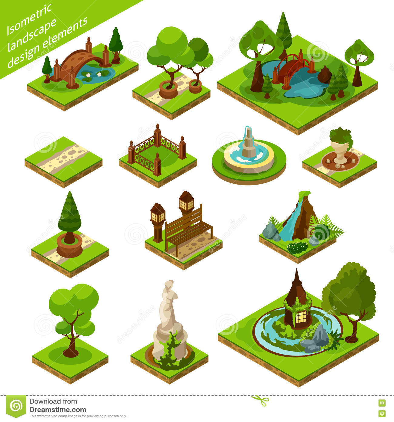 isometric landscape design elements green brown blue d beautiful garden isolated vector illustration 71352240