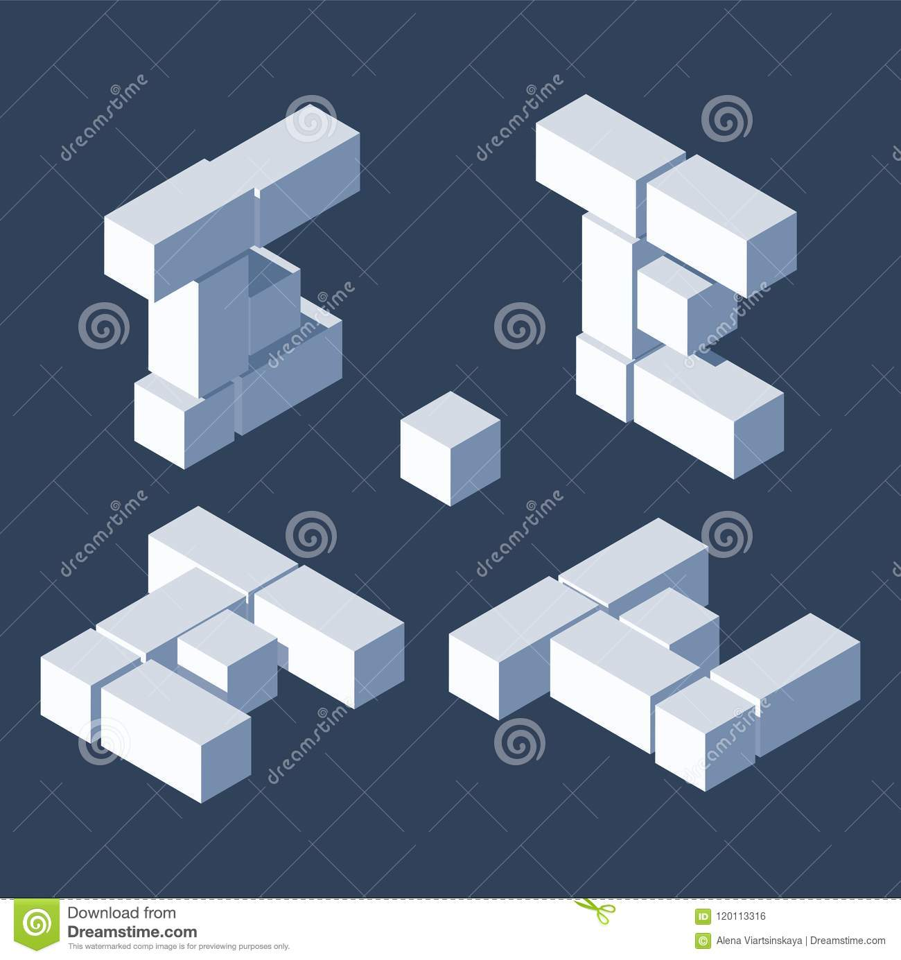 Isometric Letters E In Varions Views  Made With 3d Blocks