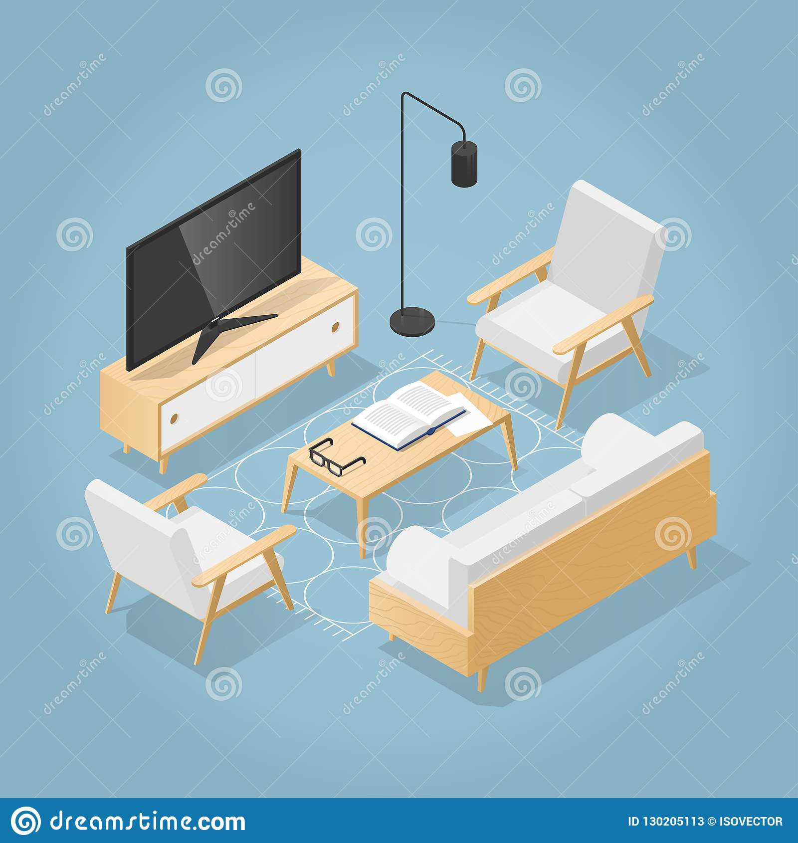 Isometric Living Room Illustration Stock Vector Illustration Of Book Colorful 130205113