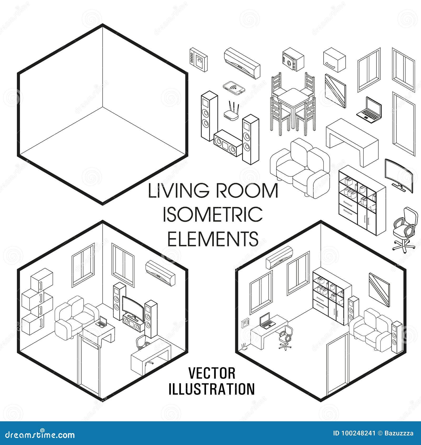 isometric living room interior constructor vector set of isometric Elements of Wine isometric living room interior constructor vector set of isometric furniture elements of home interior isolated