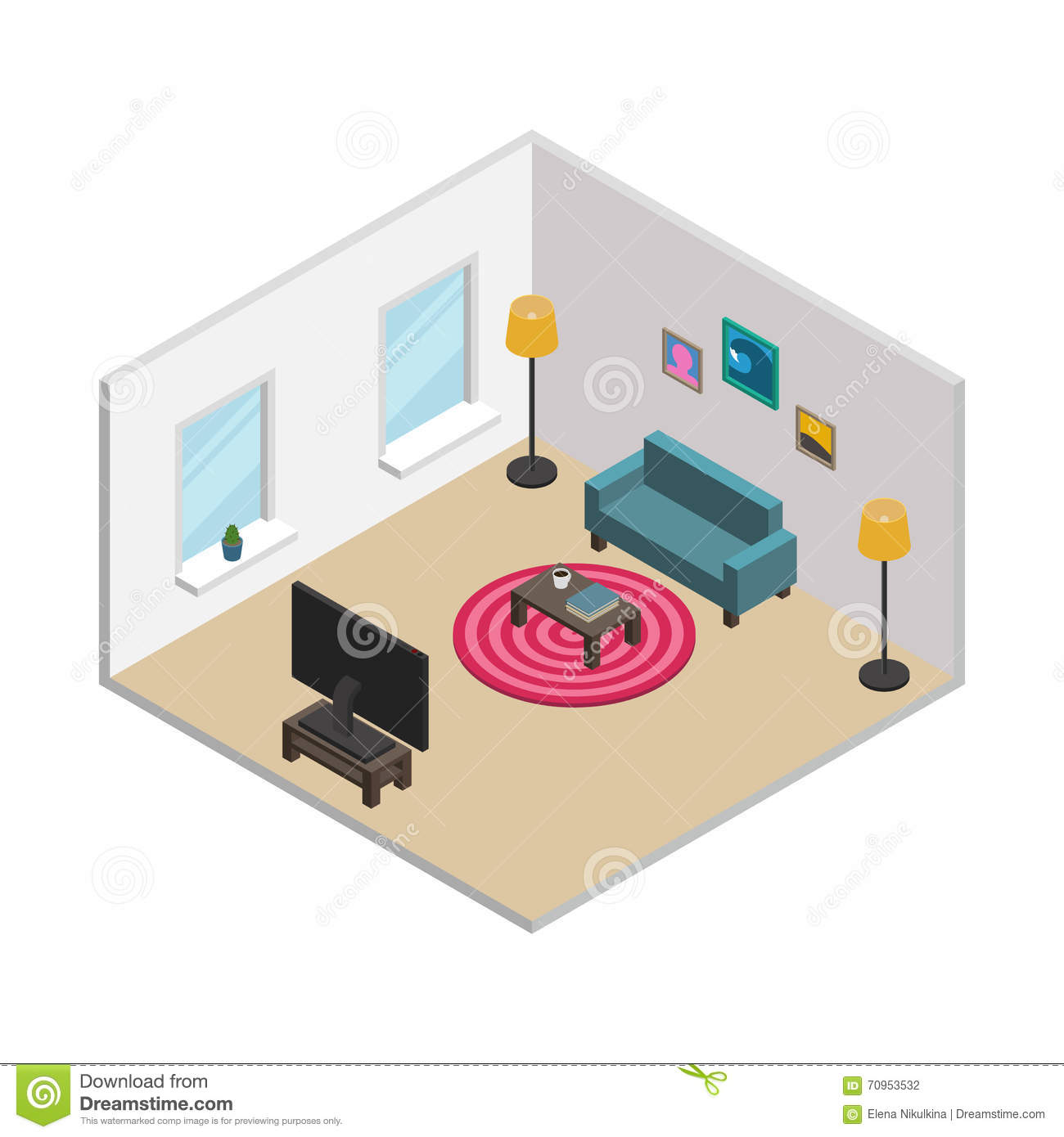 3d Floor Plan Isometric: Isometric Living Room With White Walls, Windows And