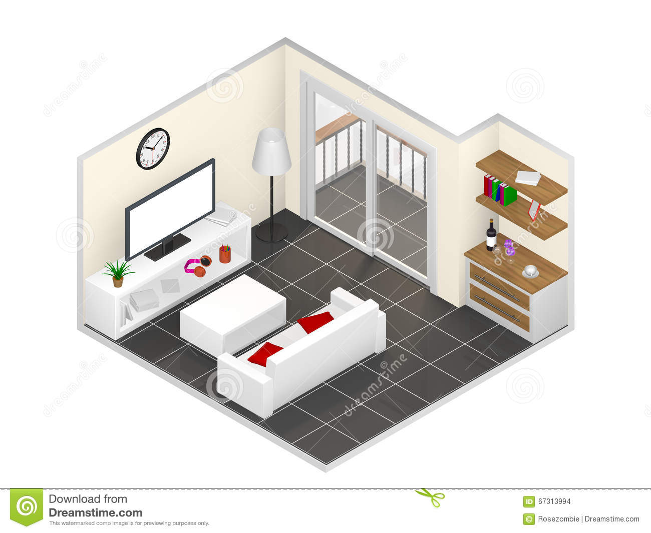 Isometric livingroom stock illustration image of mirror for Latest drawing room designs 2016