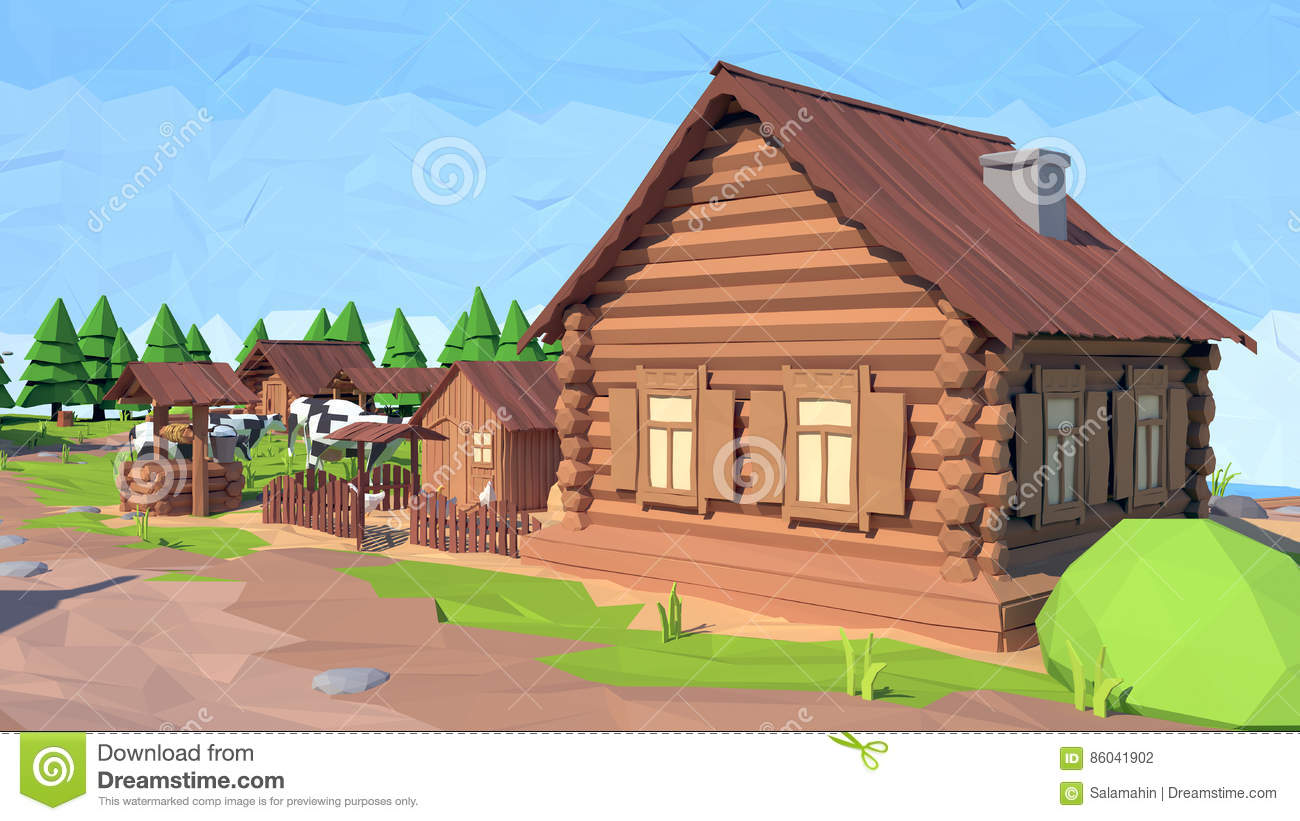 Isometric Low Poly House, 3D Rendering Stock Illustration