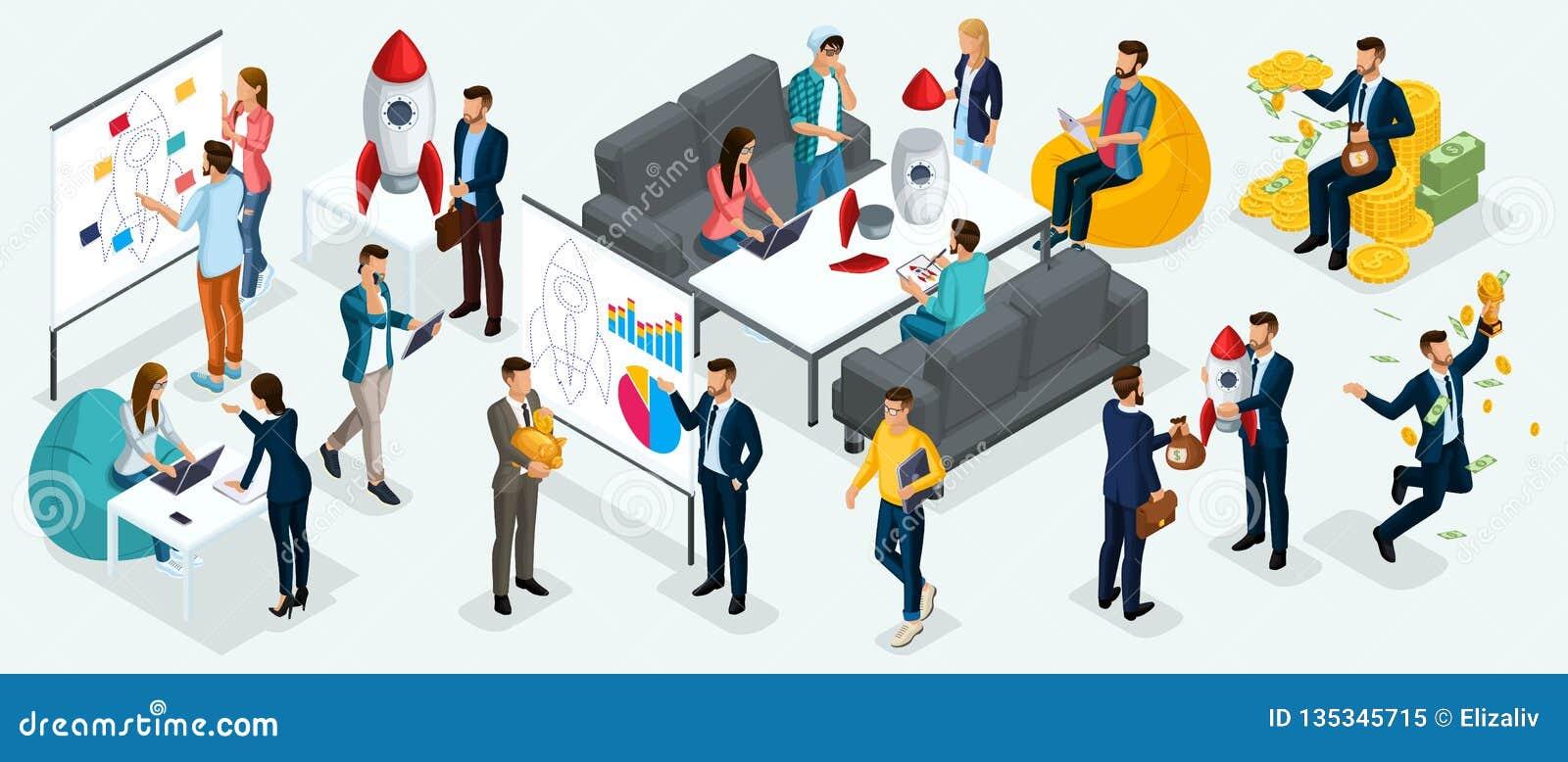 Isometric ludzie, przedsiębiorcy przedstawiają nowego początkowego projekta plan biznesowego, rozwój inwestorska rewizja