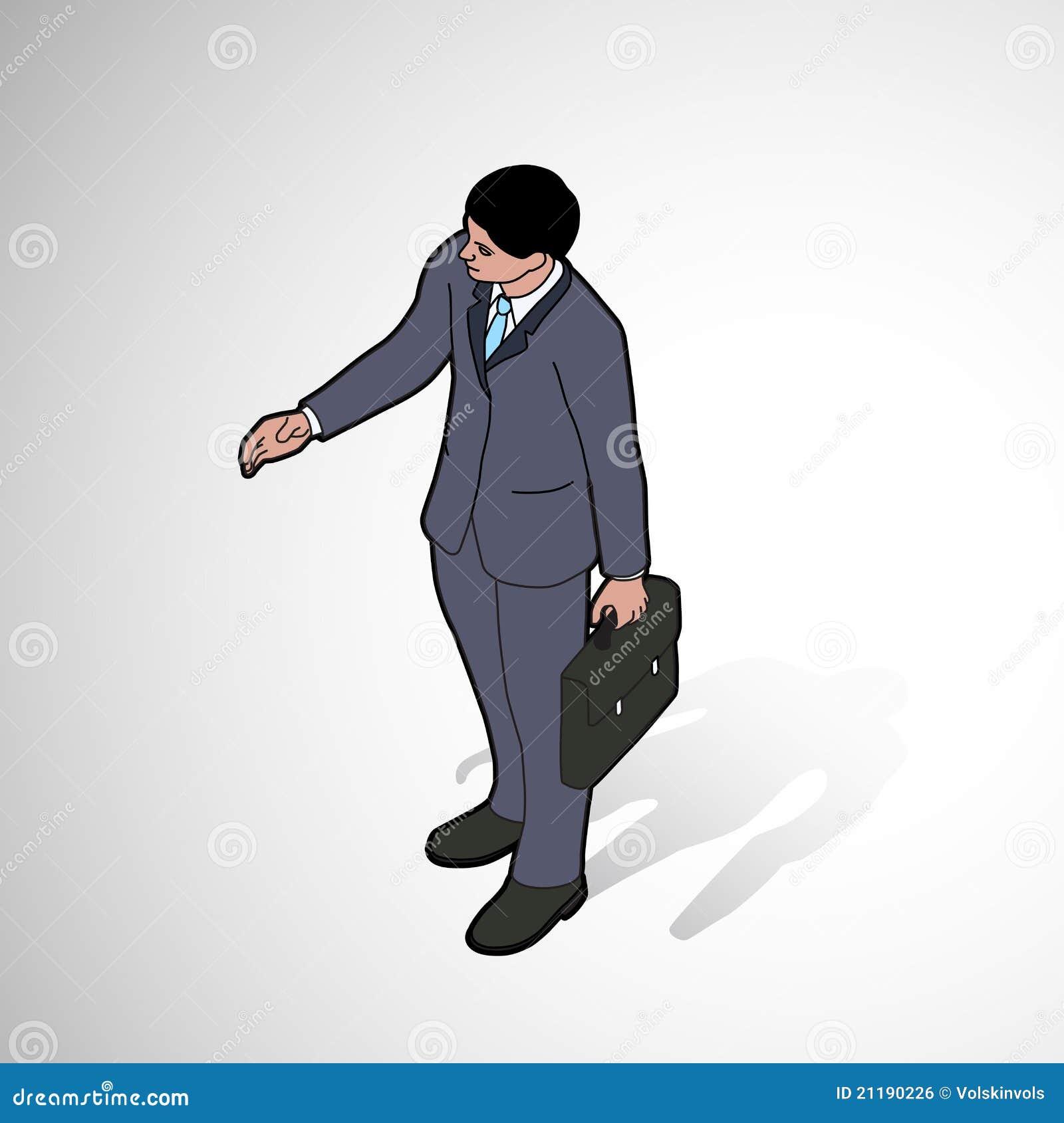 Isometric man shaking hand