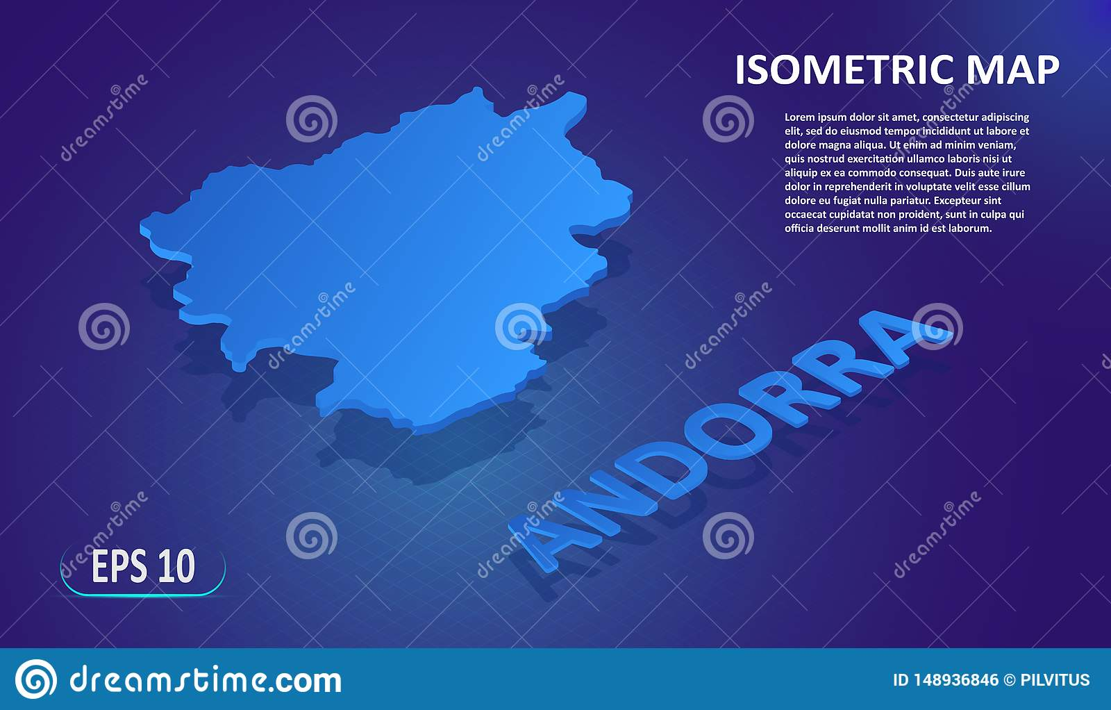 Isometric map of the ANDORRA. Stylized flat map of the country on blue background. Modern isometric or 3d location map