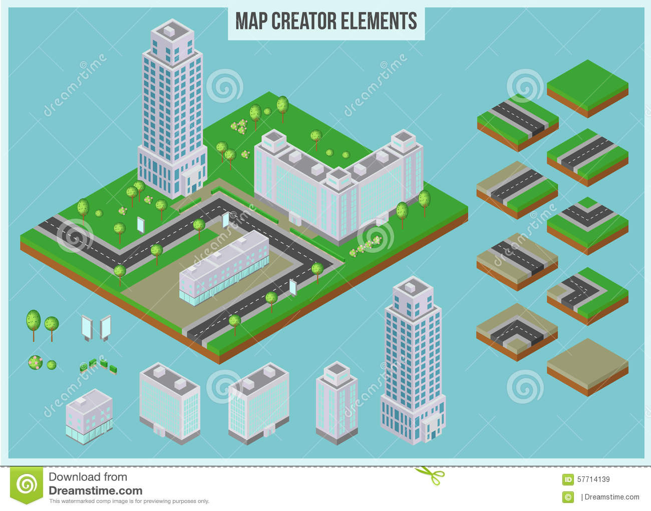 Isometric Map Creator Elements For City Building Stock Vector Image 57714139: building layout maker