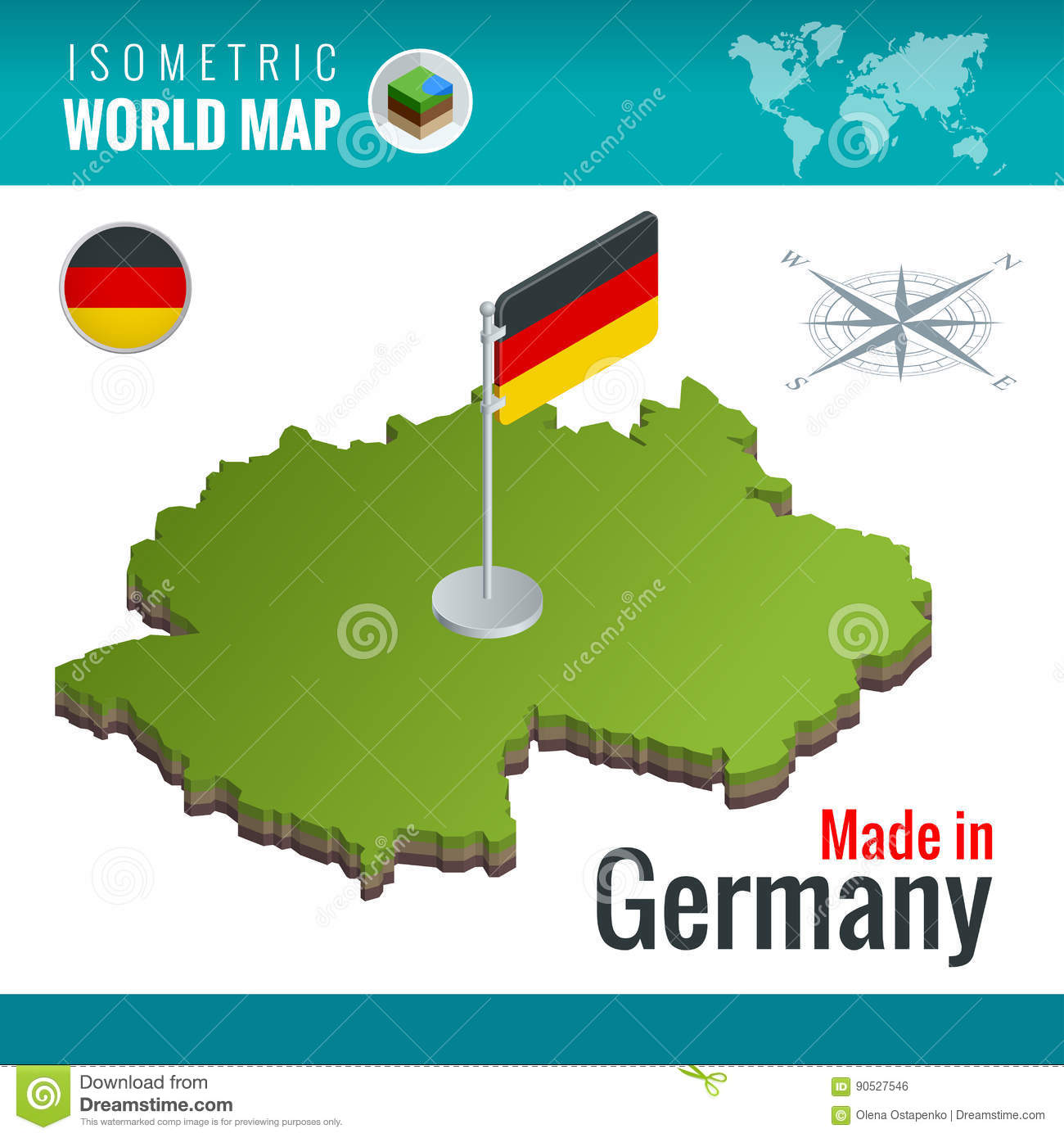 Isometric Map And Flag Of The Germany Or Deutschland ...