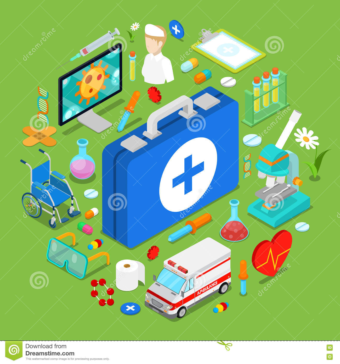Isometric Medical Health Care Objects. Flat 3d Doctor Pills Chemical Objects