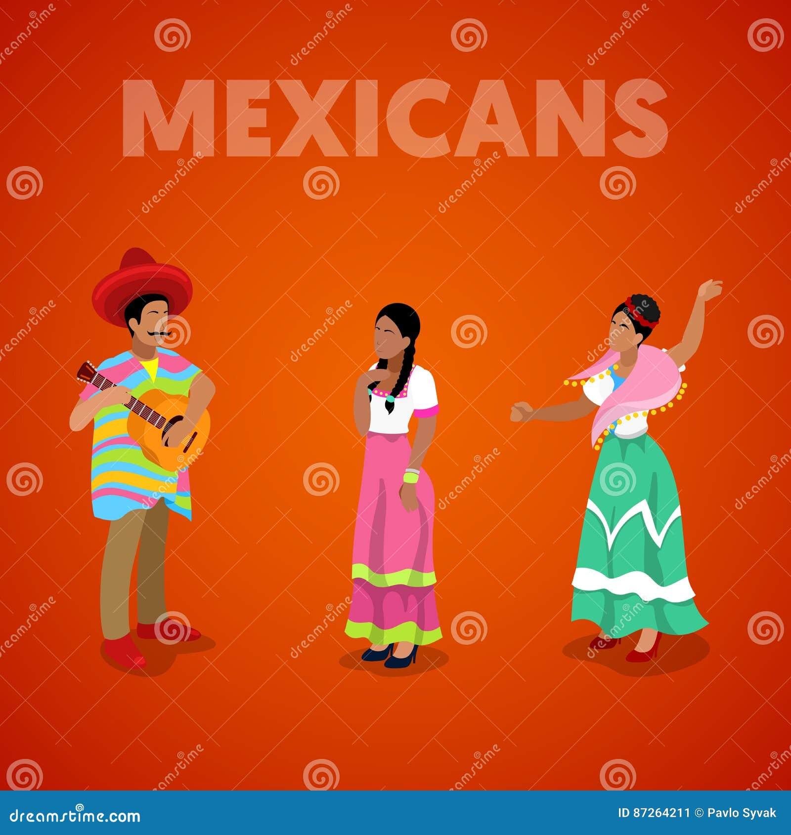 Isometric Meksykańscy ludzie w Tradycyjnym Odziewają