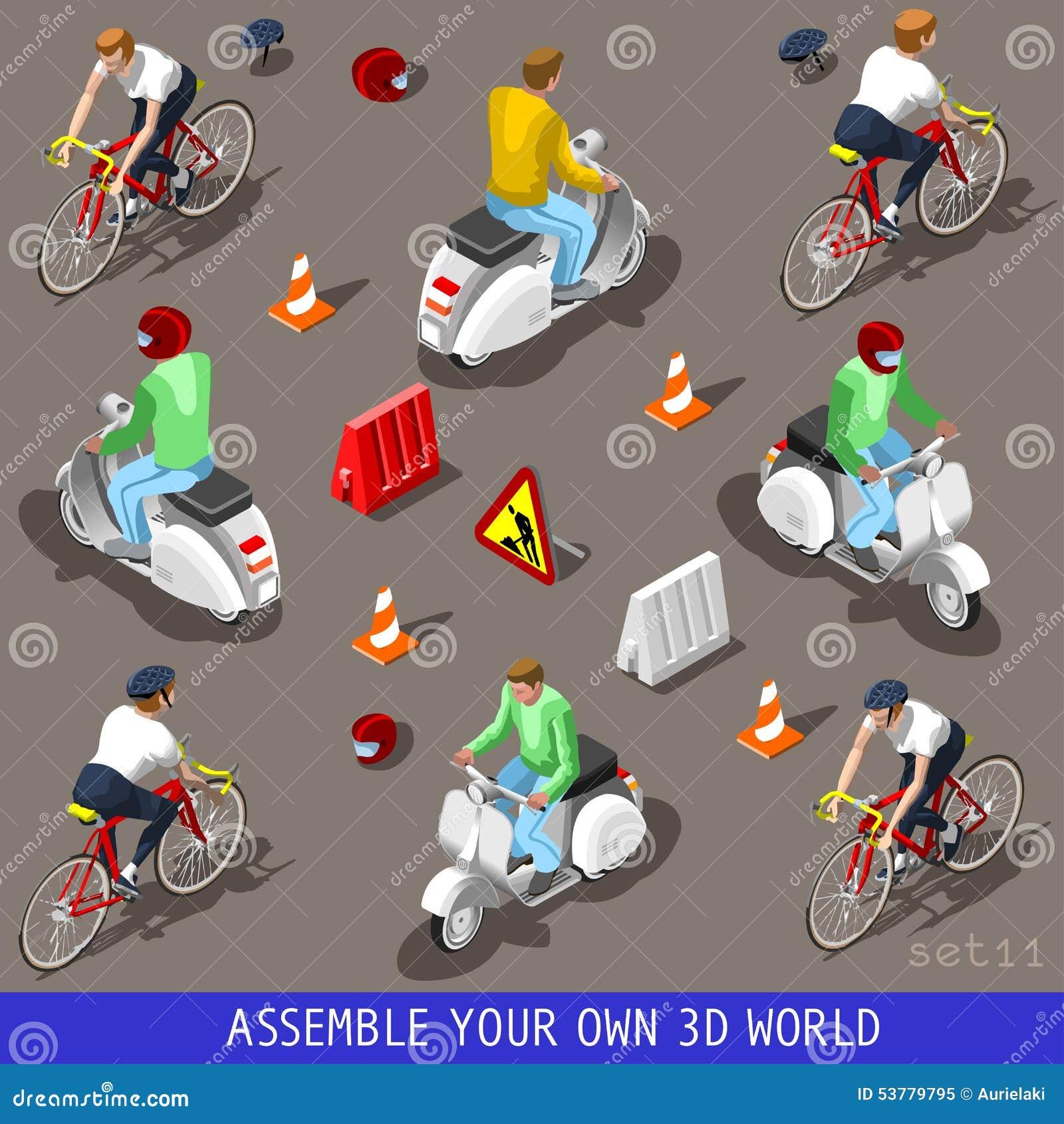 Isometric mieszkania 3d pojazdu hulajnoga bicyklu set