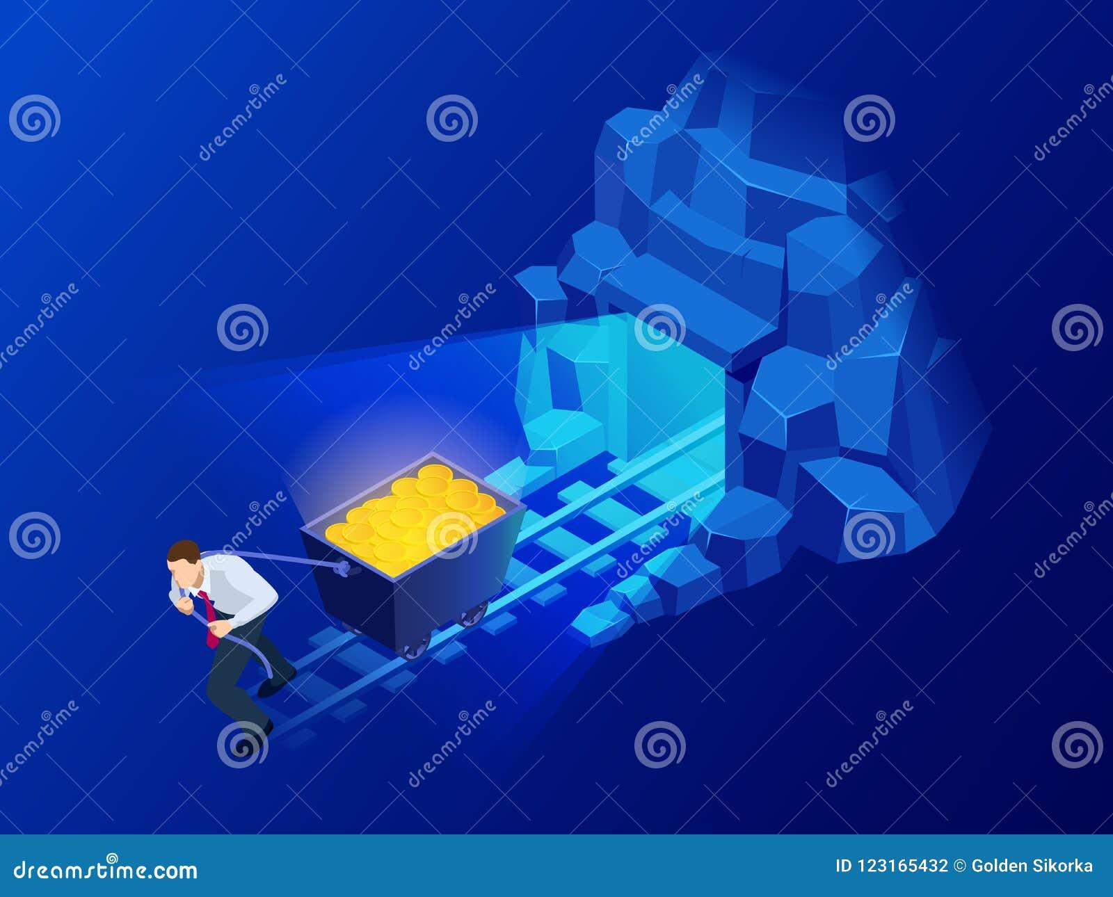 Isometric Mining Bitcoin Farm. Cryptocurrency, Blockchain ...