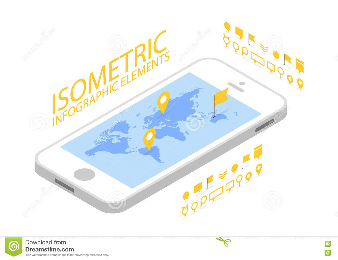 Isometric mobile gps navigation concept smartphone with world map download isometric mobile gps navigation concept smartphone with world map application and marker pin pointer gumiabroncs Images