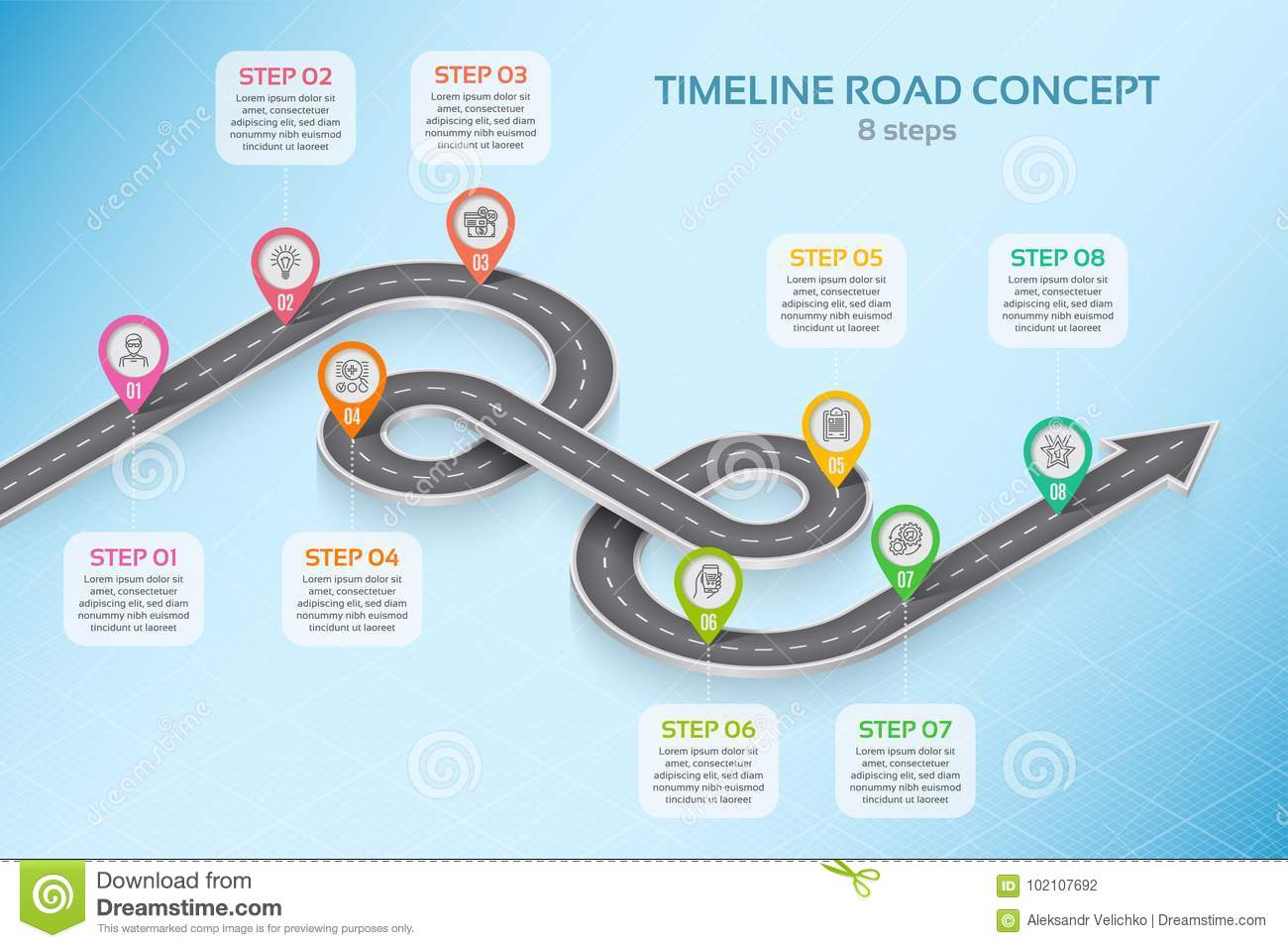 Isometric Navigation Map Infographic 8 Steps Timeline Concept Stock ...