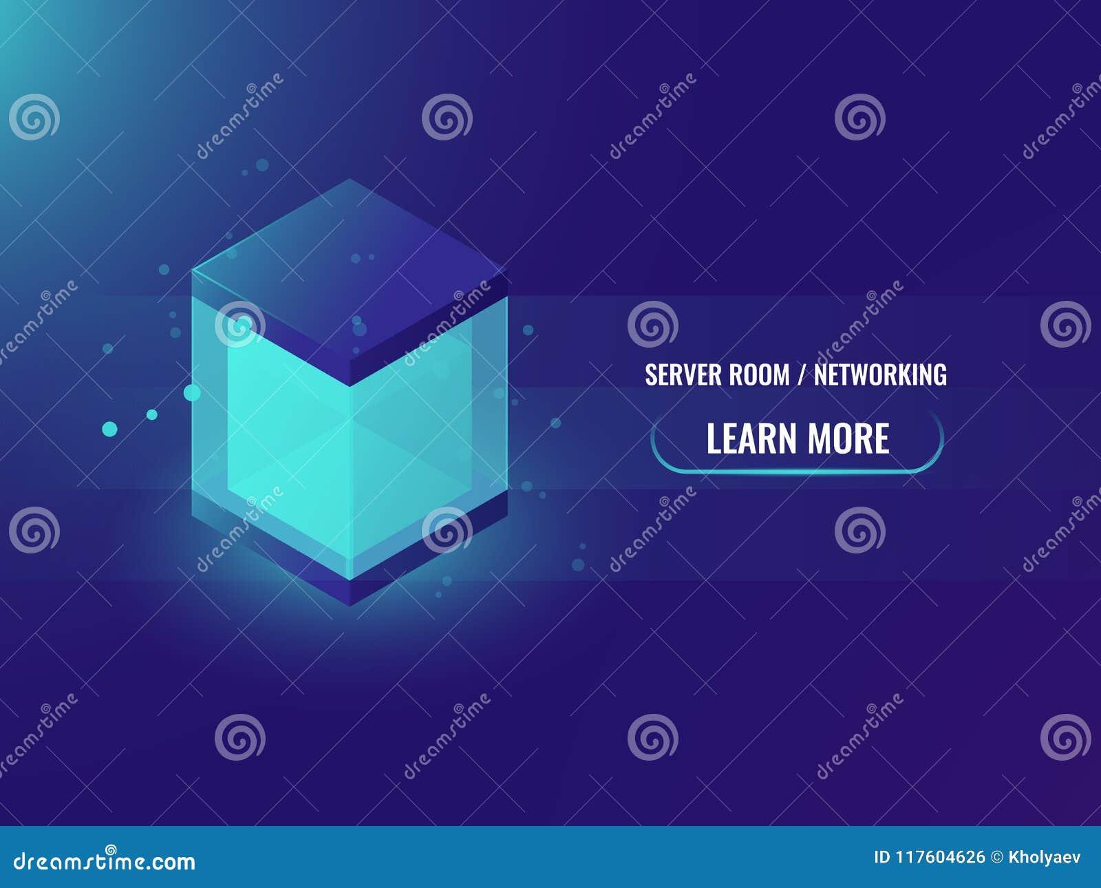 Isometric neon big data storage block concept, abstract technology banner, shining cube box, blockchain vector