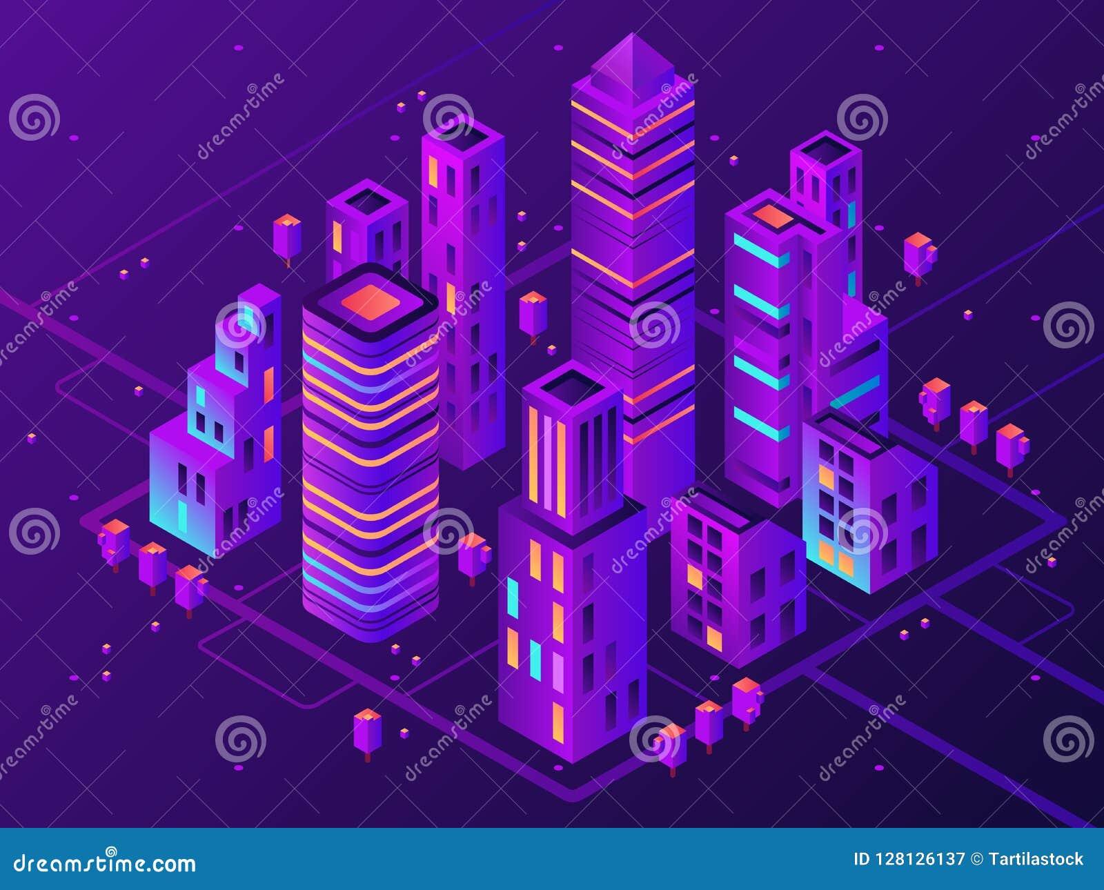 Isometric neon town. Futuristic illuminated city, future megapolis highway illumination and business district 3d vector