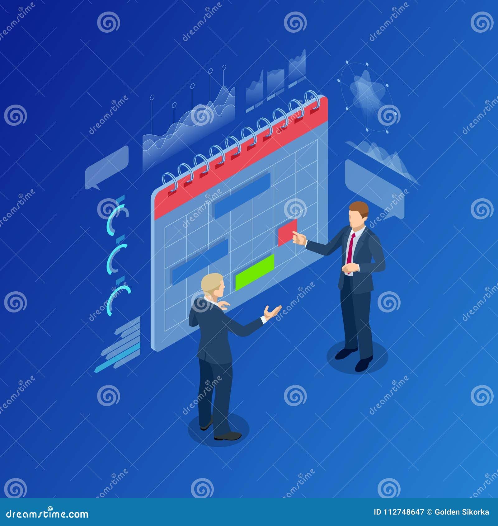 Isometric Nowożytni ludzie Planuje strategia biznesowa planisty Kalendarzową organizację