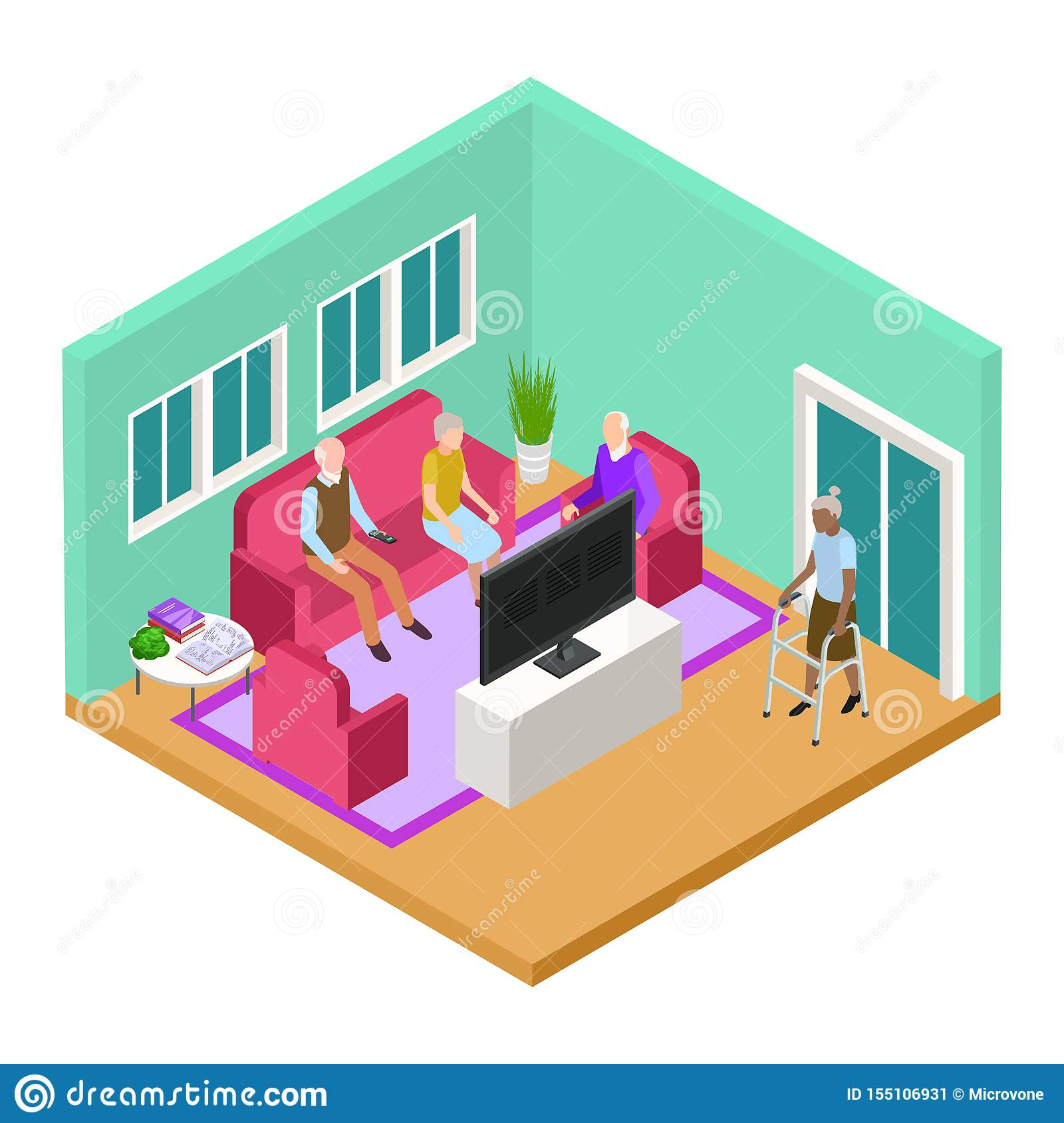 Isometric Nursing Home Living Room Interior With Old People