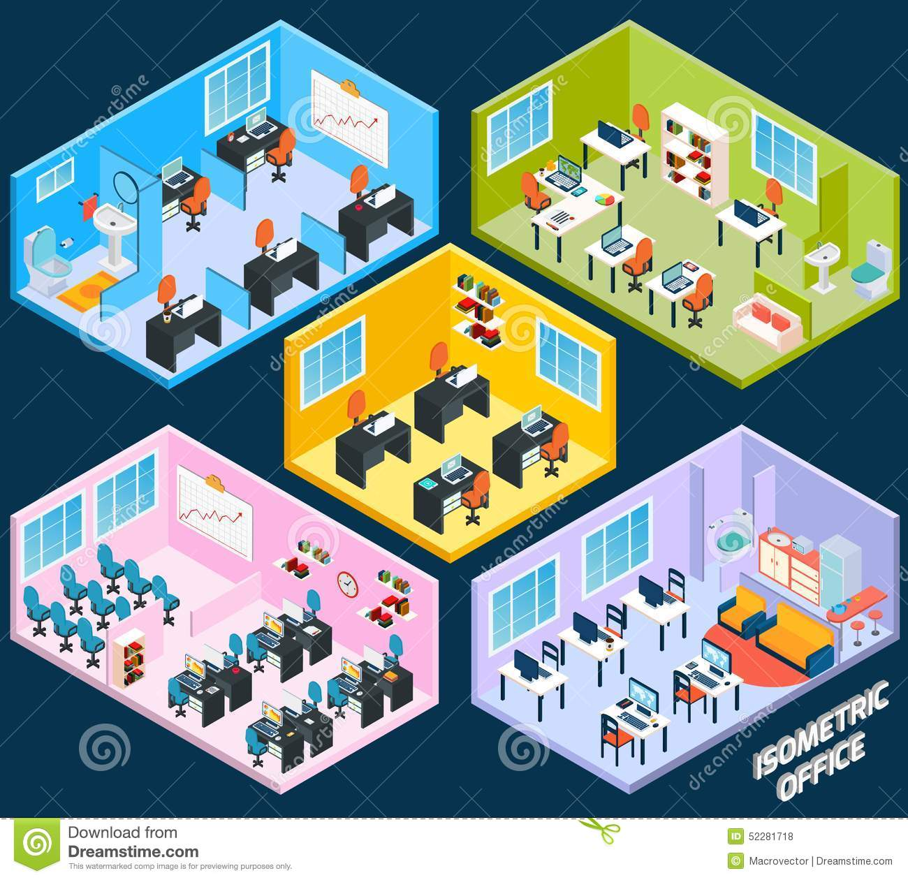 Isometric office interior with working conference and meeting room