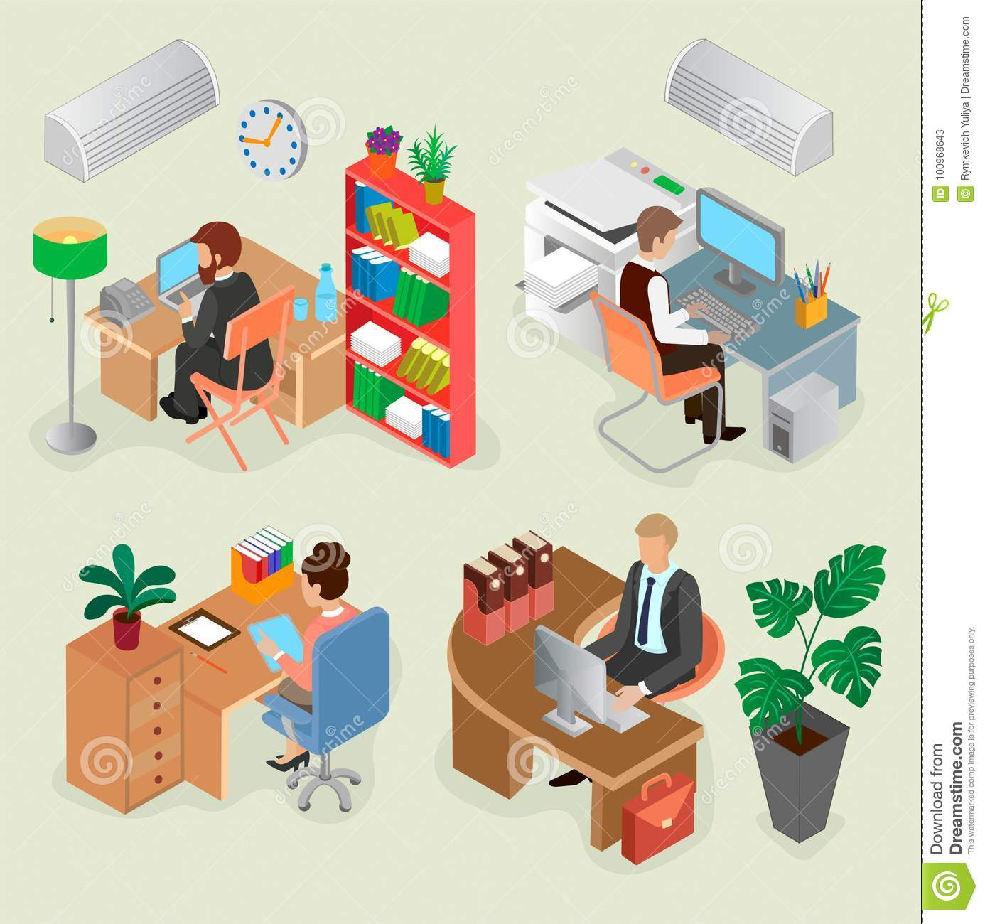 Isometric Office Interiors And Creative Employees