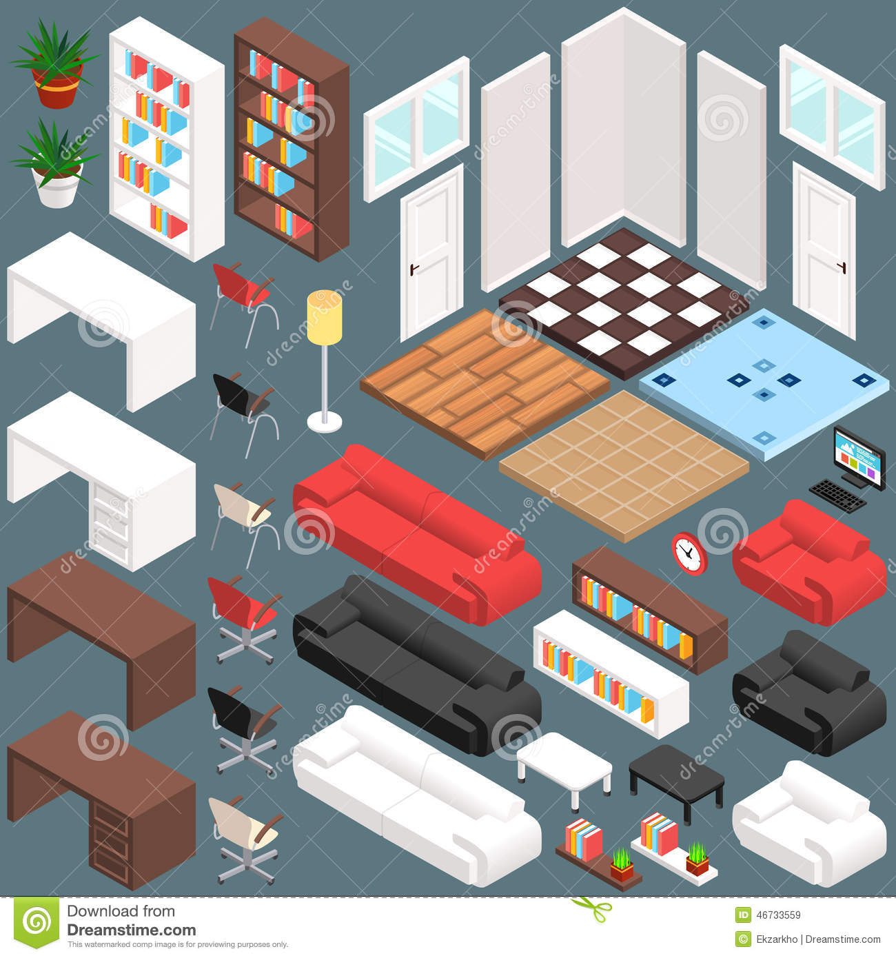 Isometric office planning 3d vector creation kit stock for 3d space planner