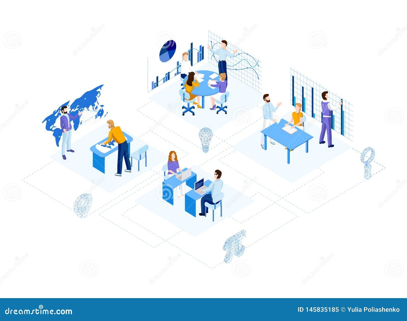 Isometric office team.
