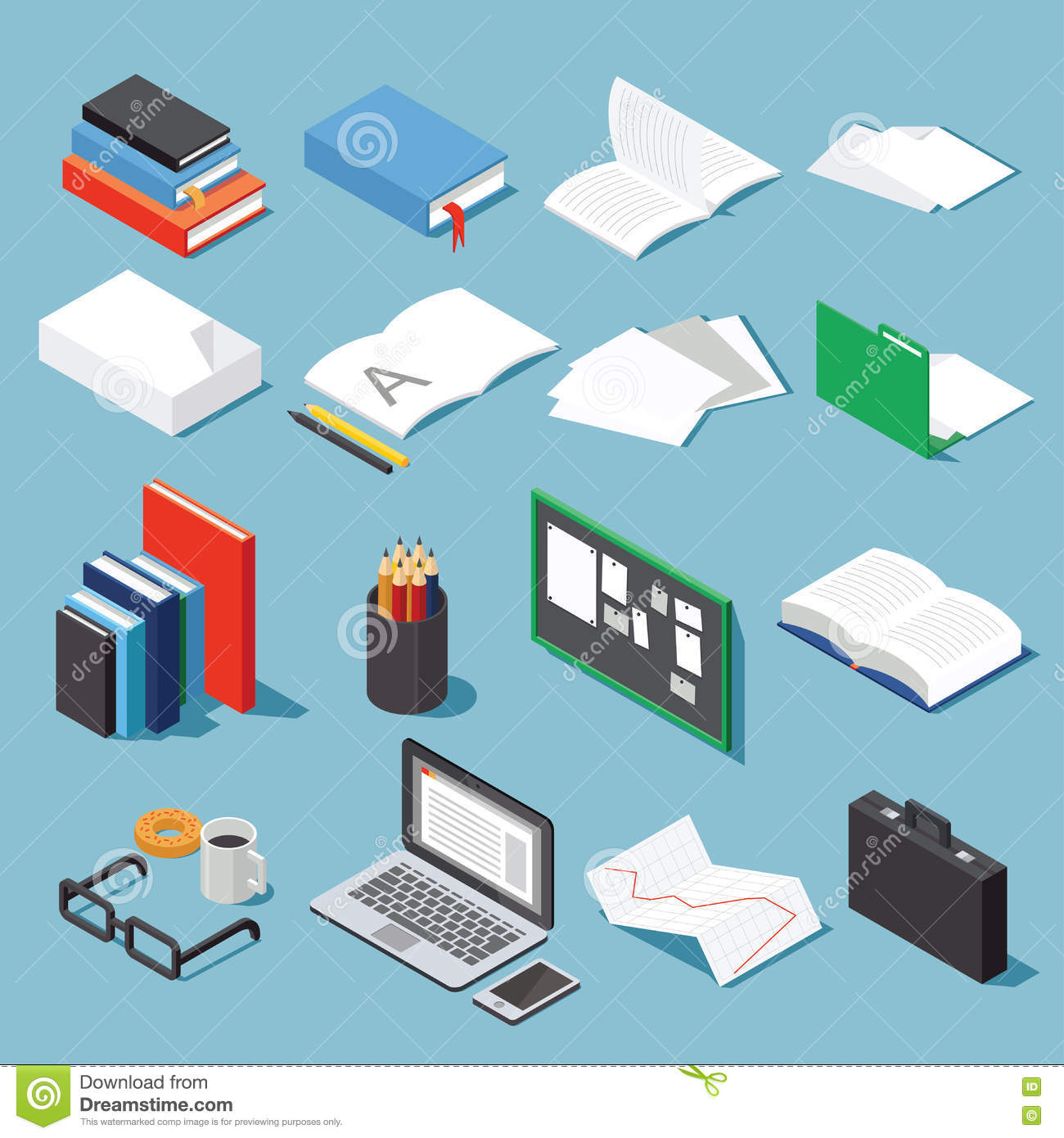Isometric office tools set stock vector. Illustration of board ...