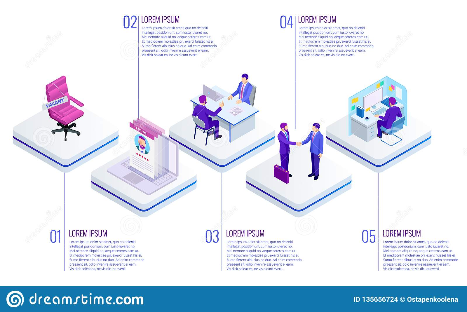 Isometric Online job search and human resource concept. Infographics of Business data visualization. Process chart. Job