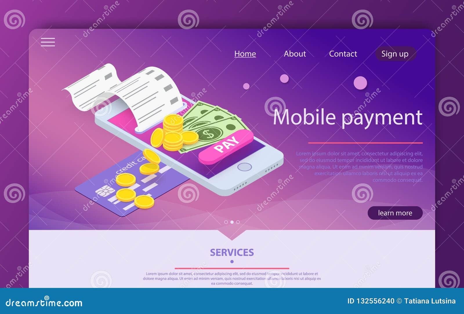 Isometric online płatniczy online pojęcie Pieniądze przelewanie przez smartphone app
