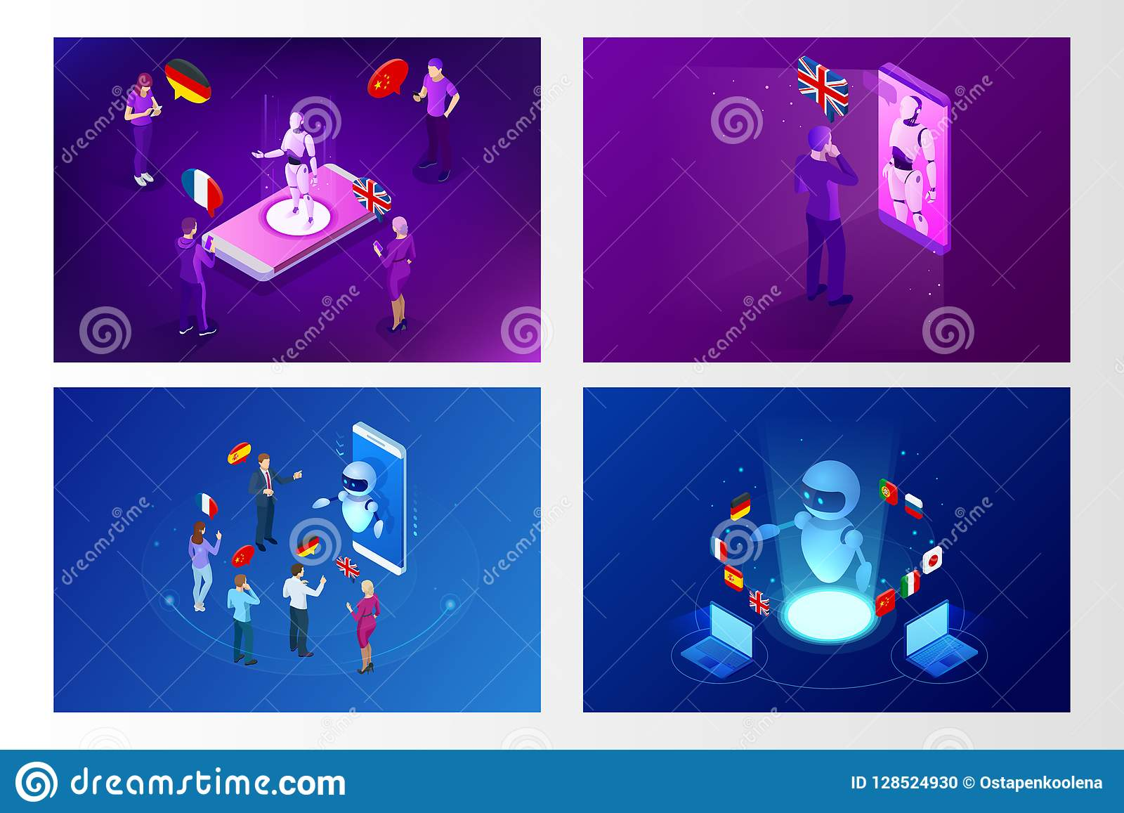 Isometric Online Voice Translator And Learning Languages Concept  E