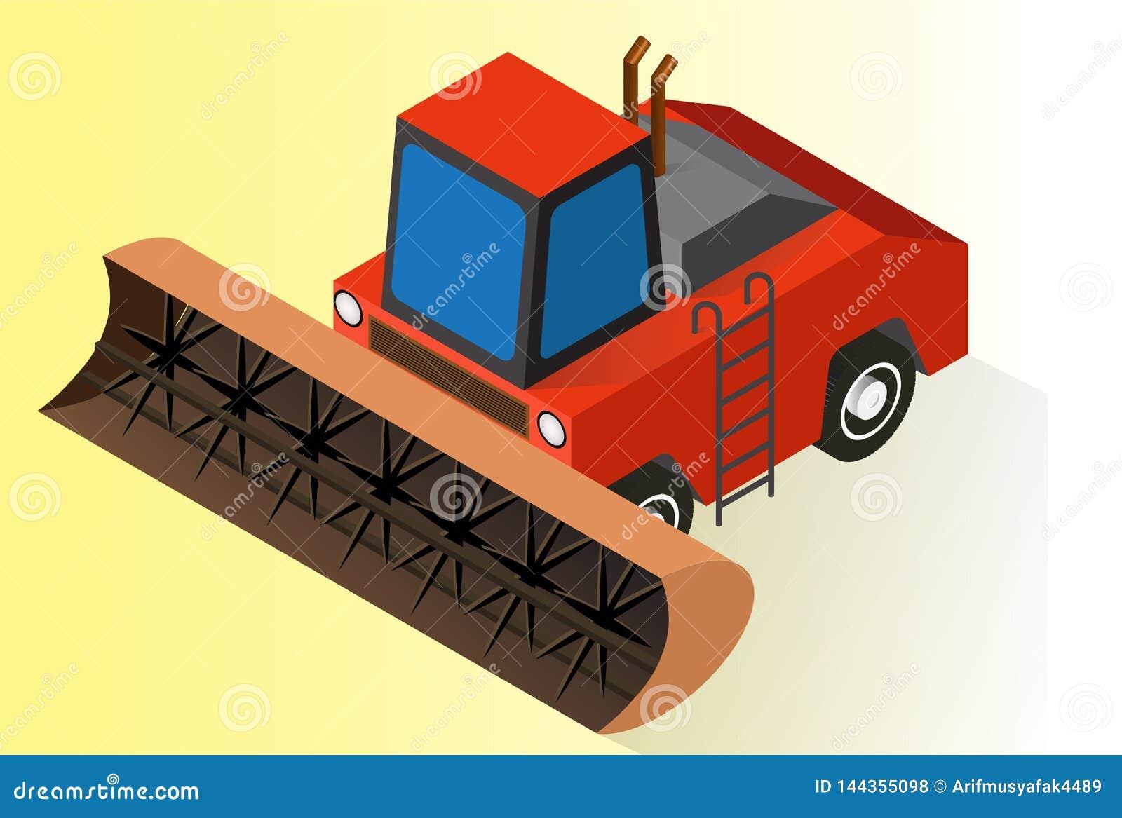 Isometric orange farm tractor or bulldozer