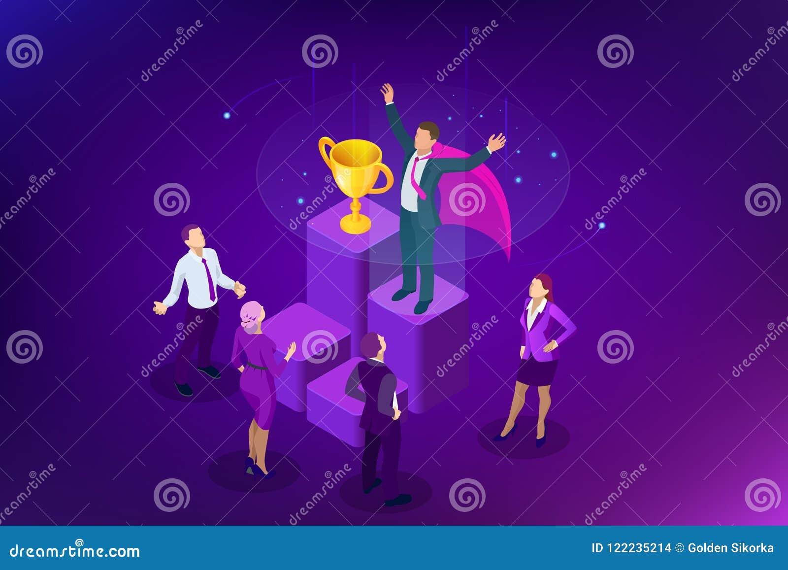 Isometric osiągnięcia pojęcie i biznesowego pojęcia odosobniony sukcesu biel Duży trofeum dla biznesmenów