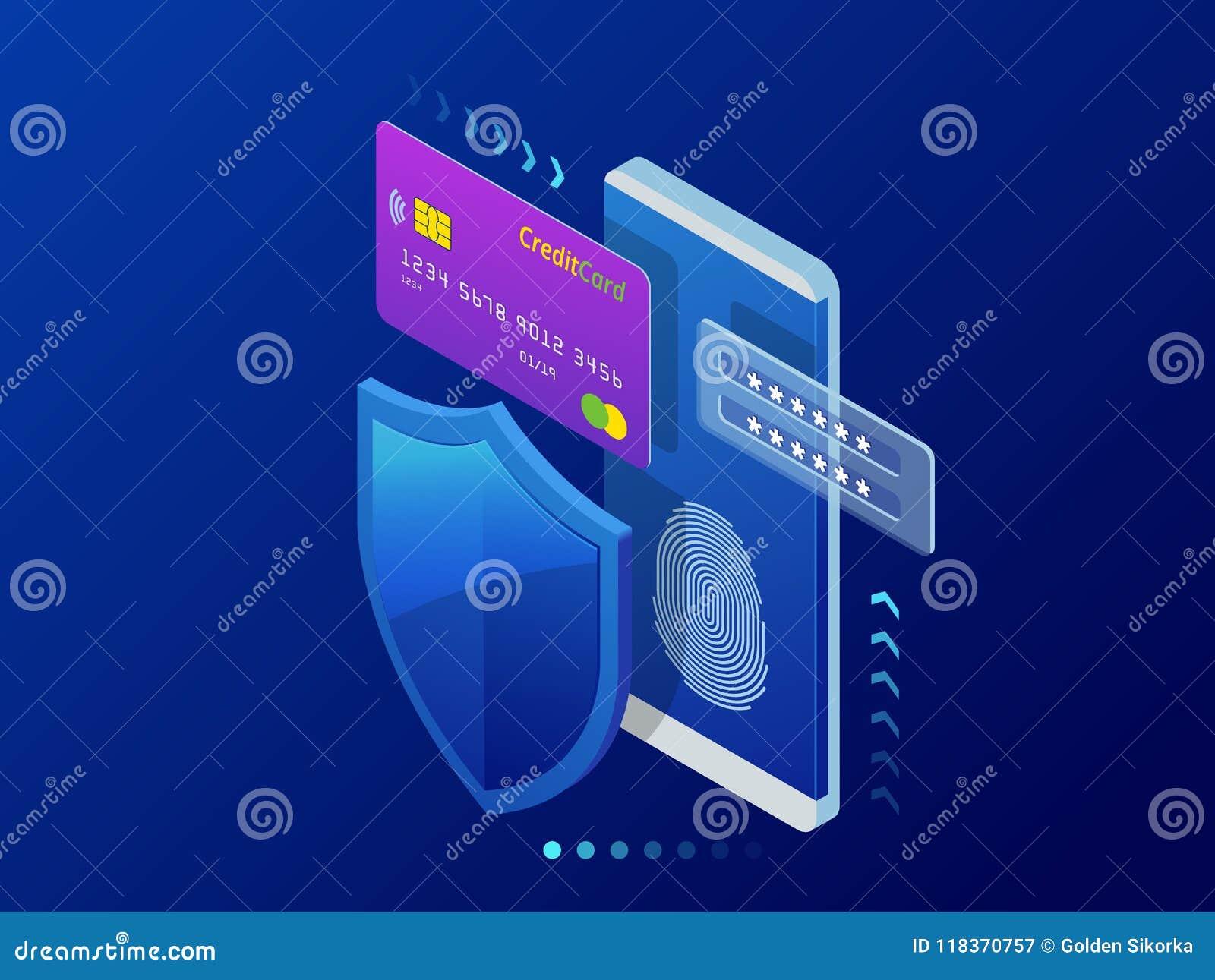 Isometric osobisty dane ochrony sieci sztandaru pojęcie Cyber prywatność i ochrona Ruchu drogowego utajnianie, VPN, prywatność
