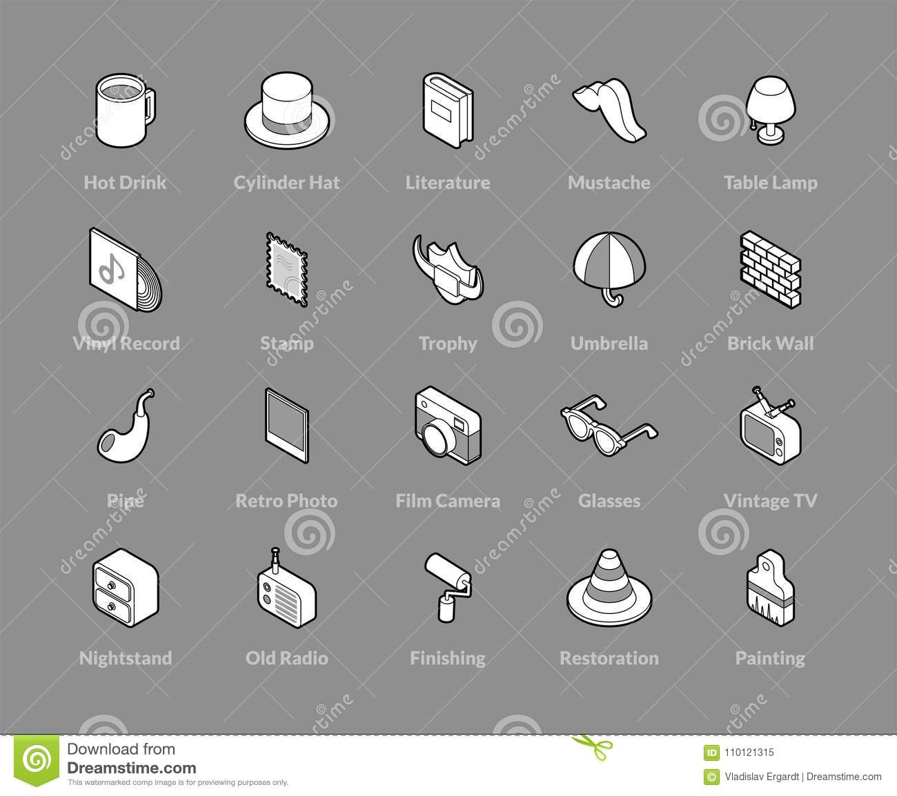 Isometric Outline Icons Set Stock Vector Illustration Of Camera