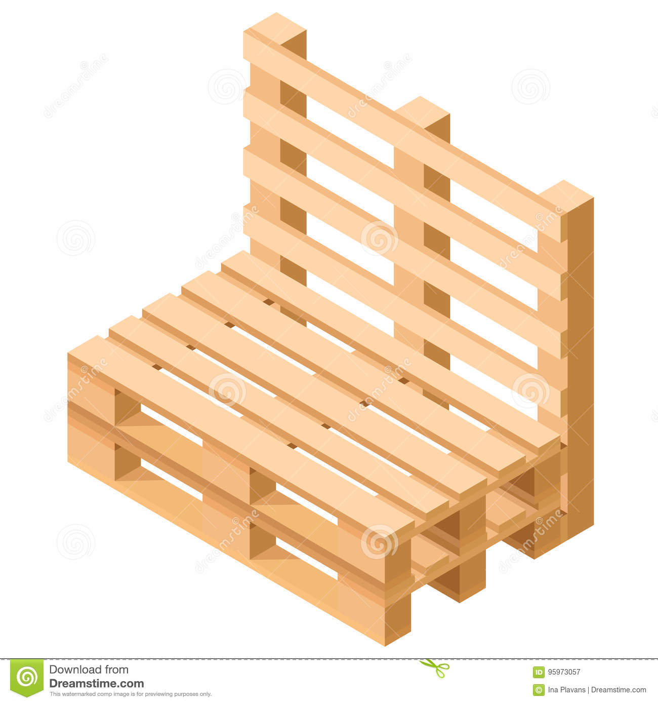 palet furniture. Isometric Pallet Furniture. Chair Built From Pallets-. Vector Palet Furniture