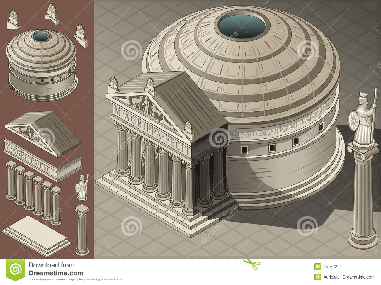 Isometric Pantheon Temple In Roman Architecture Stock