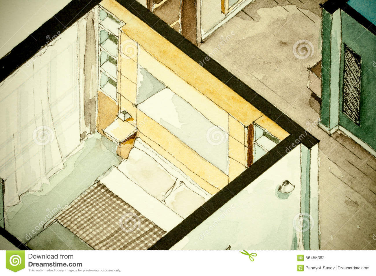 Isometric partial architectural watercolor drawing of for Apartment stock plans