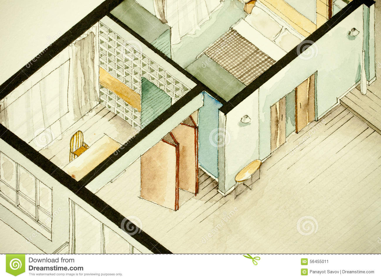 Isometric Partial Architectural Watercolor Drawing Of