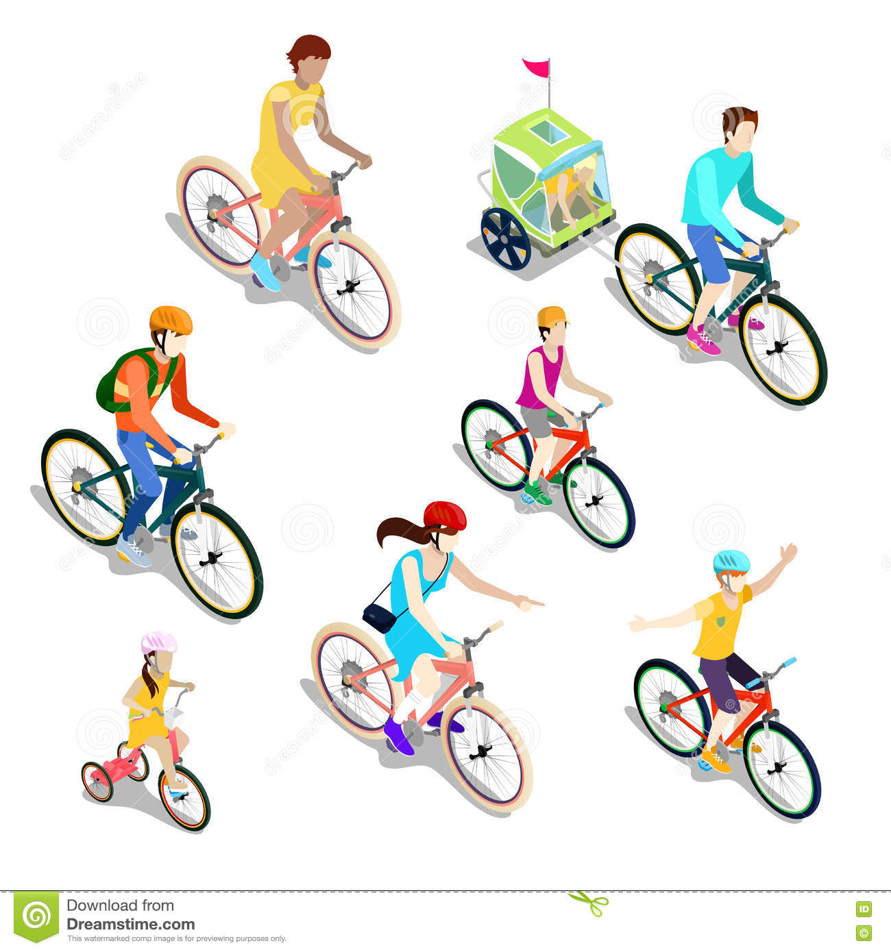 Isometric People on Bicycles. Family Cyclists.