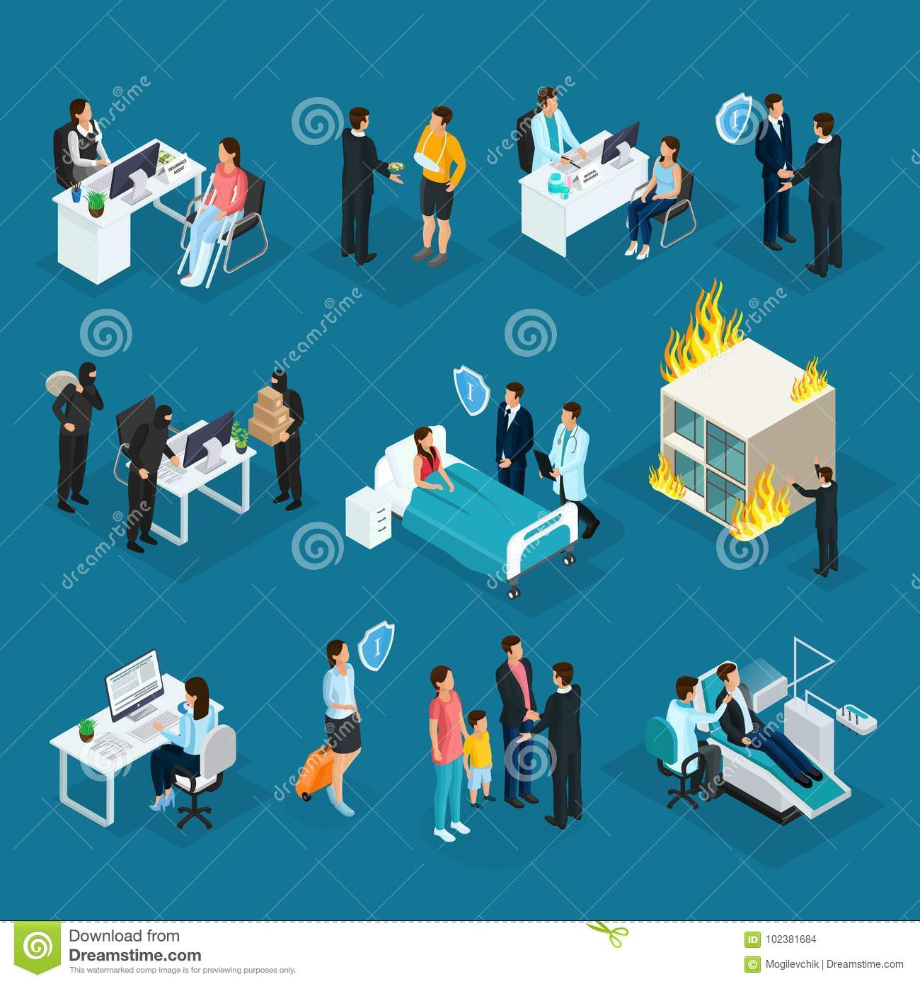 Isometric People And Insurance Collection