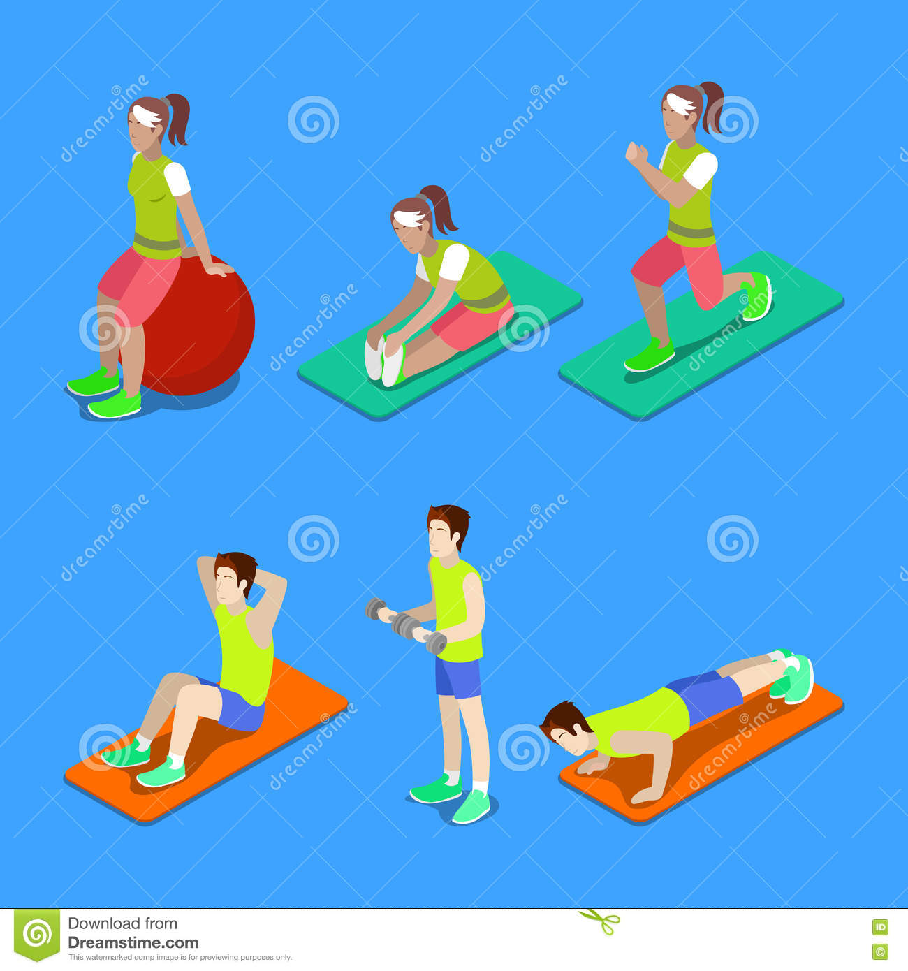 Isometric People. Man and Woman Exercising at the Gym