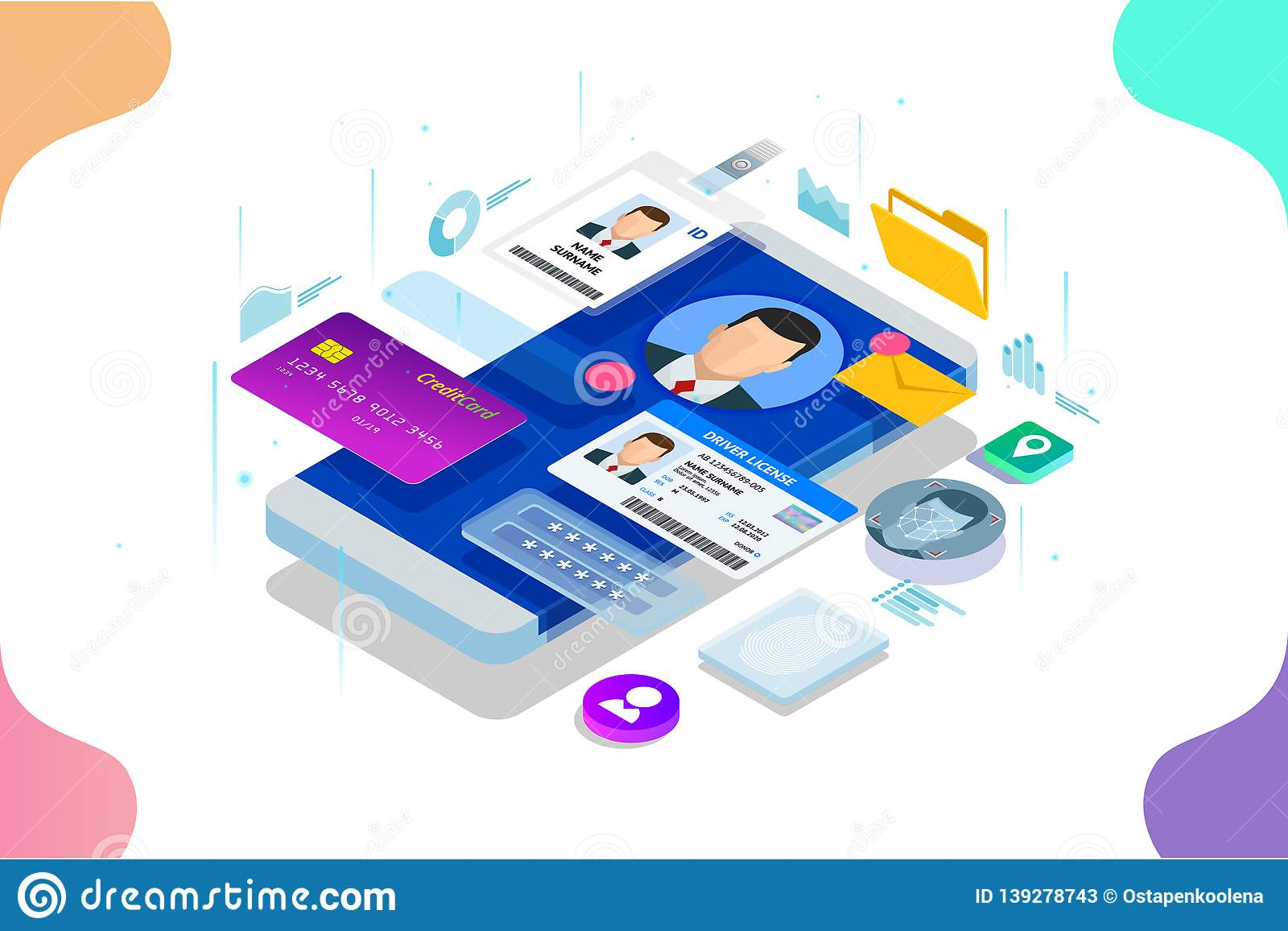 Isometric Personal Data Information App, Identity Private