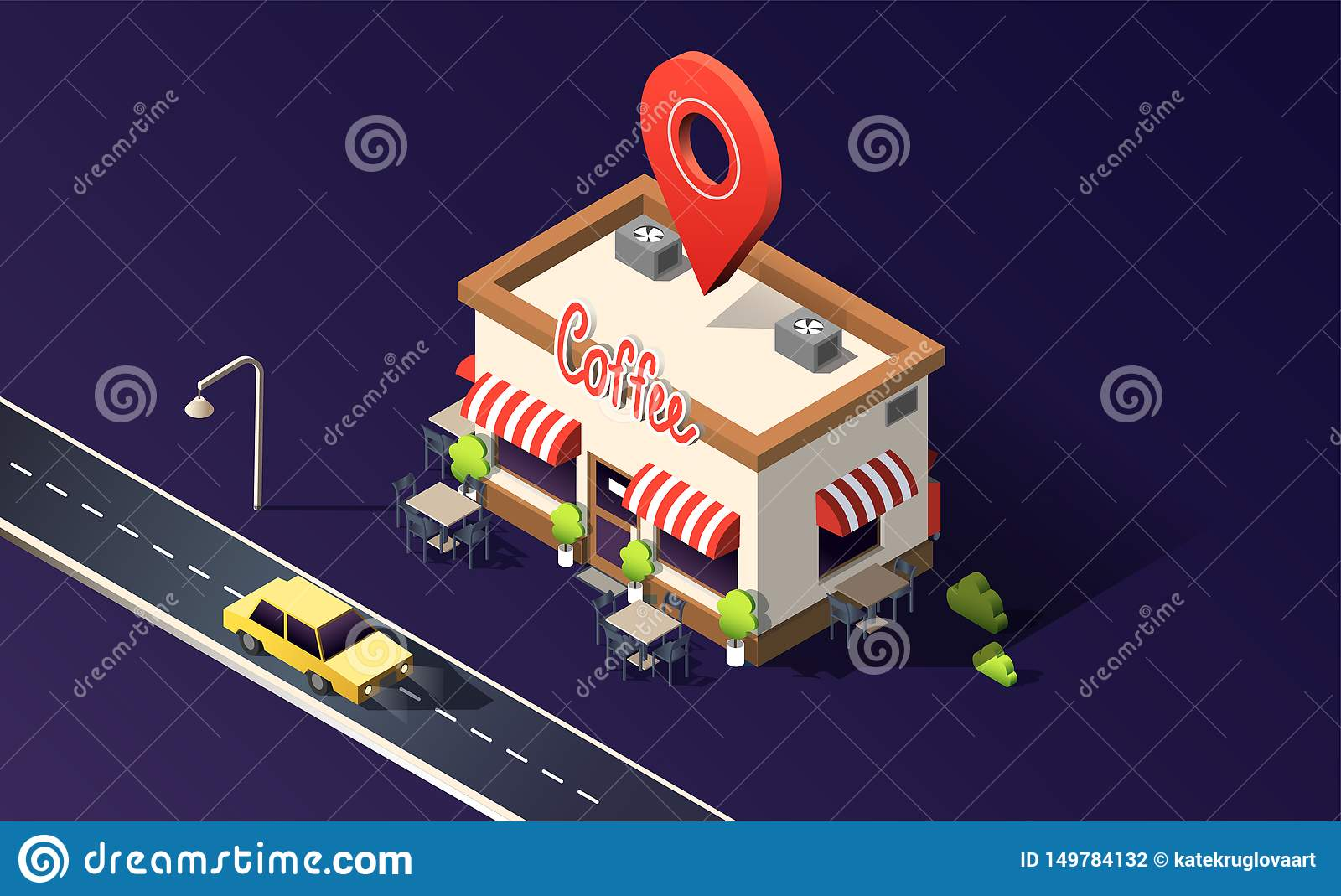 Isometric coffeehouse with road, traffic, taxi cars and location pin on dark purple. 3D vector illustration.