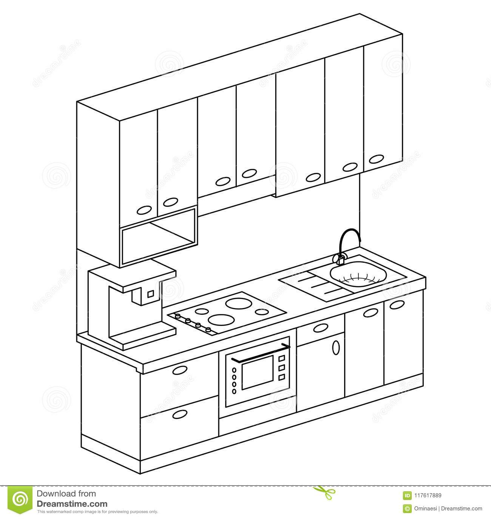 Dream Kitchen Design Drawing: Isometric Plan Kitchen Set Design Vector Illustration