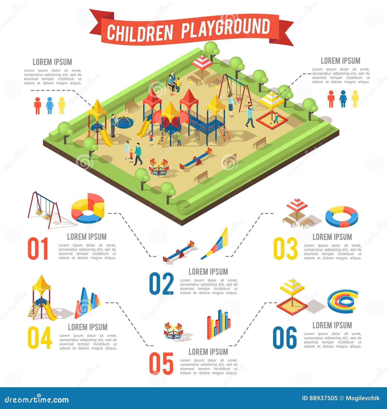 Isometric Playground Infographic Concept Stock Vector
